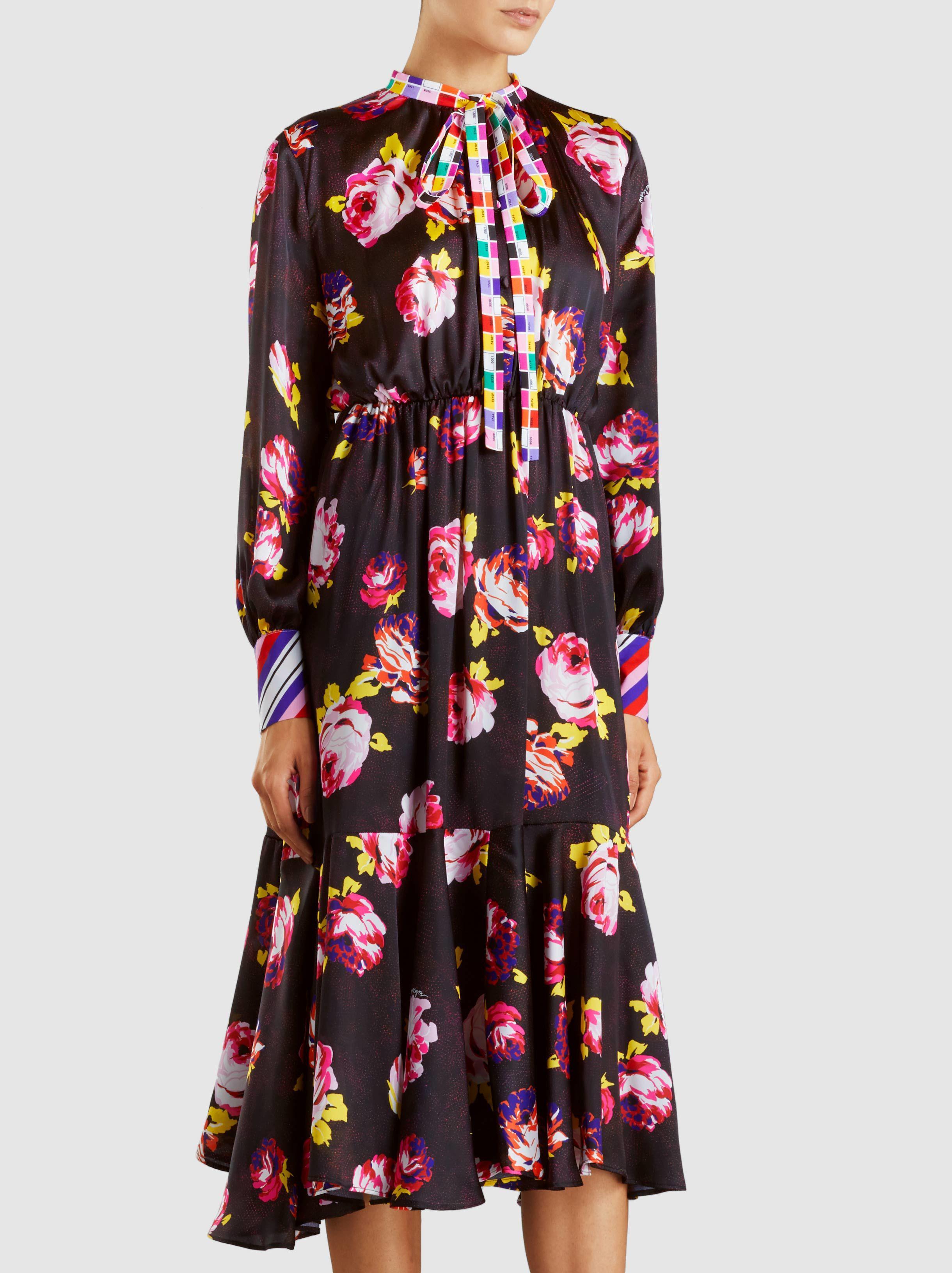 Floral-Print Satin Midi Dress Msgm bUJCy