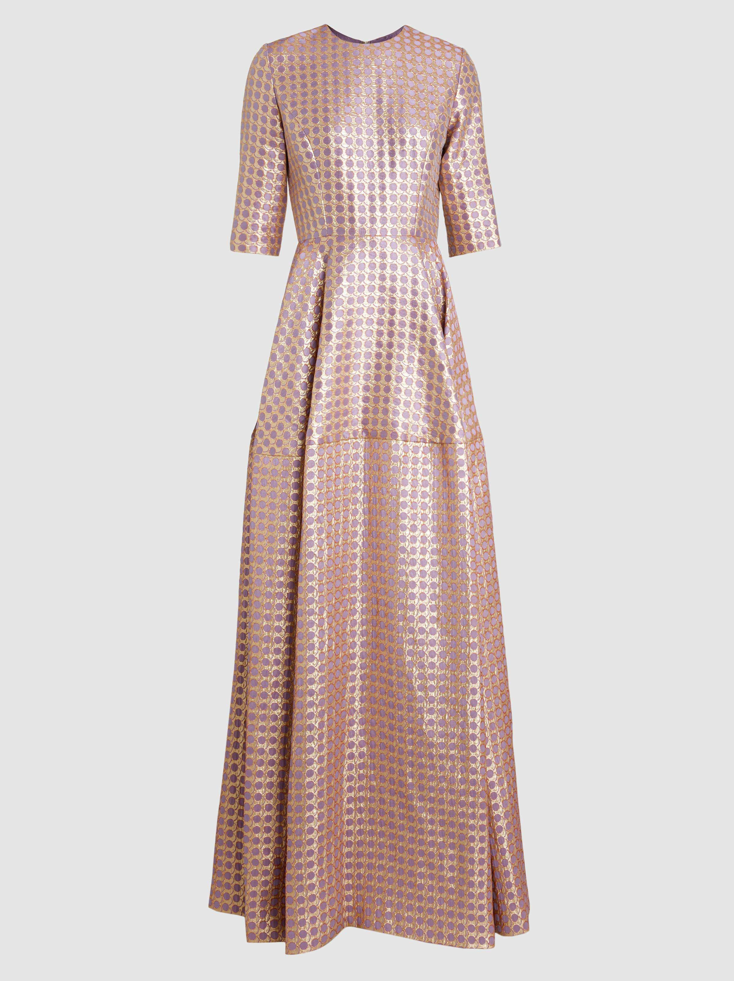 Metallic Jacquard Gown - Lilac Reem Acra Low Shipping Fee Limited Edition Sale Online Cheap Sast With Mastercard FnYla4