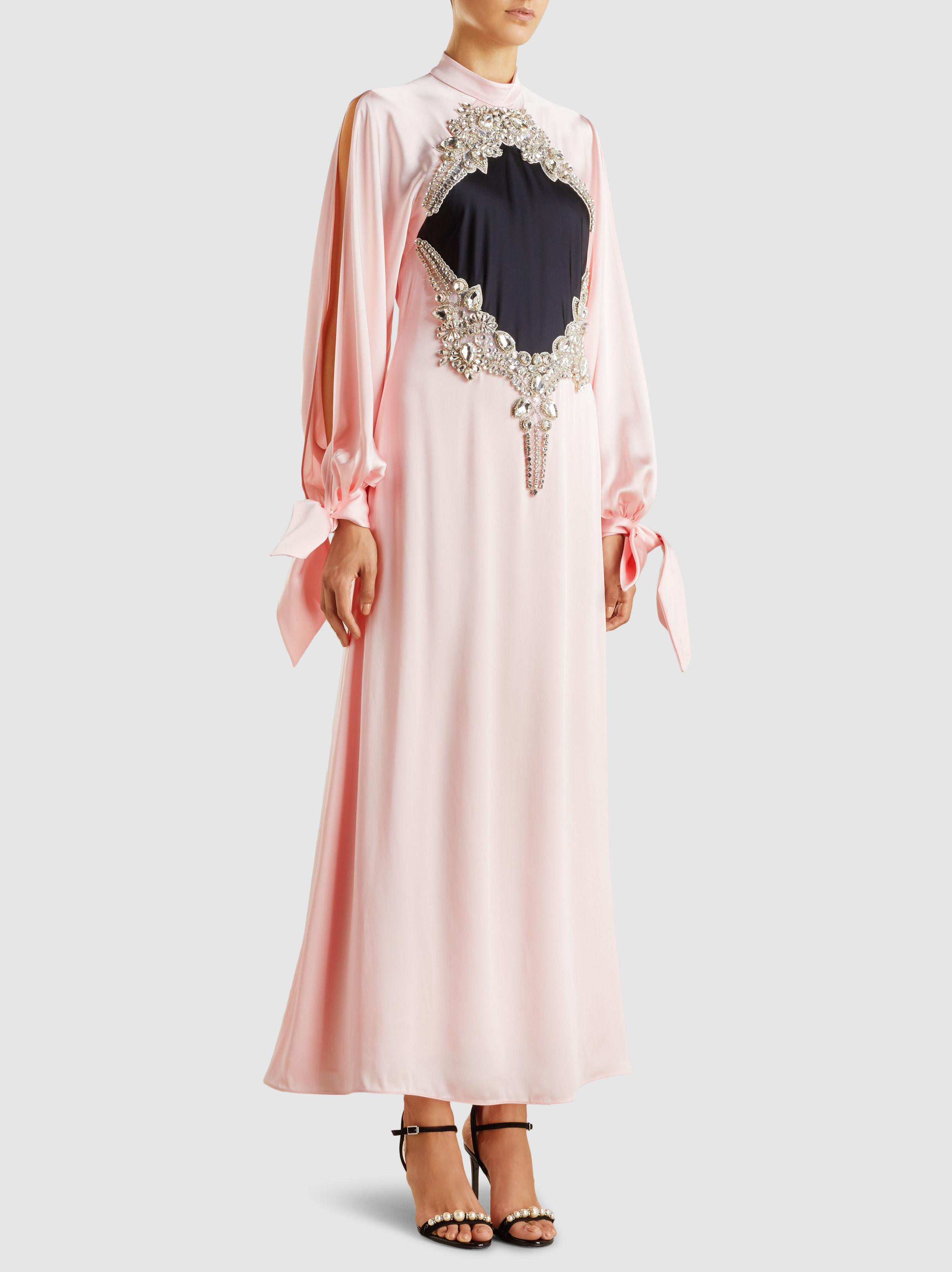 Baby pink satin maxi dress