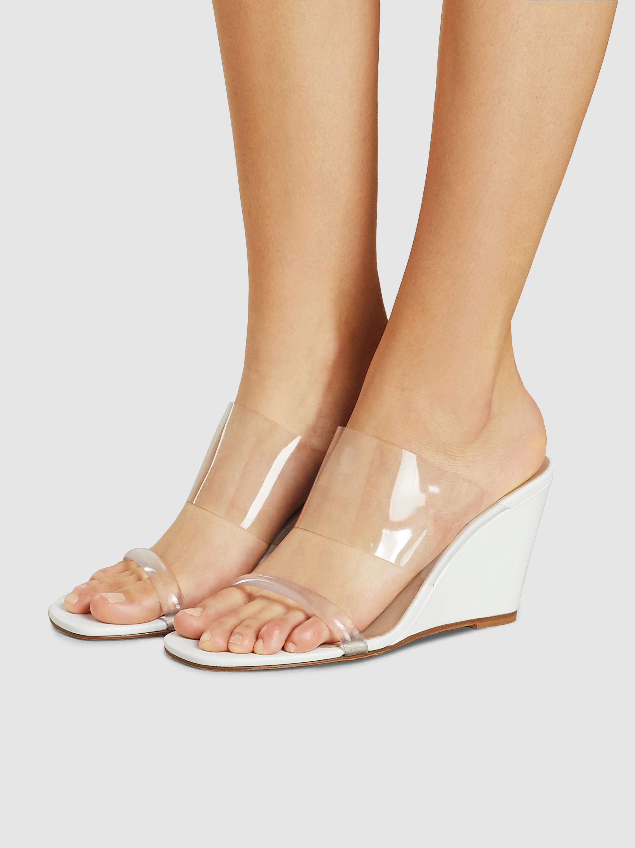 3ffe99c917 Maryam Nassir Zadeh - White Olympia Patent-leather And Pvc Wedge Sandals -  Lyst. View fullscreen