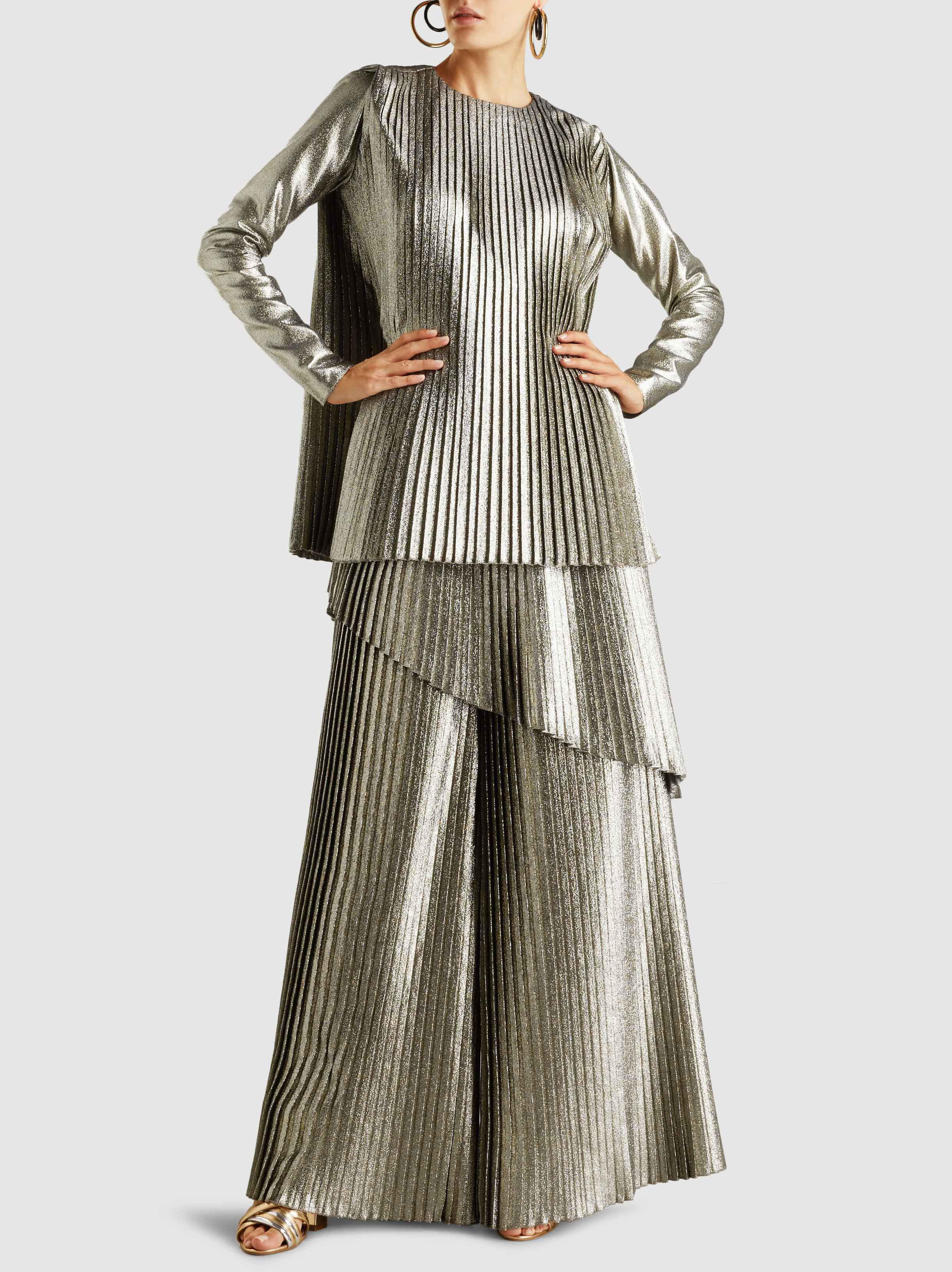 Metallic Pleated Wide-Leg Trousers SemSem LHR4FXb
