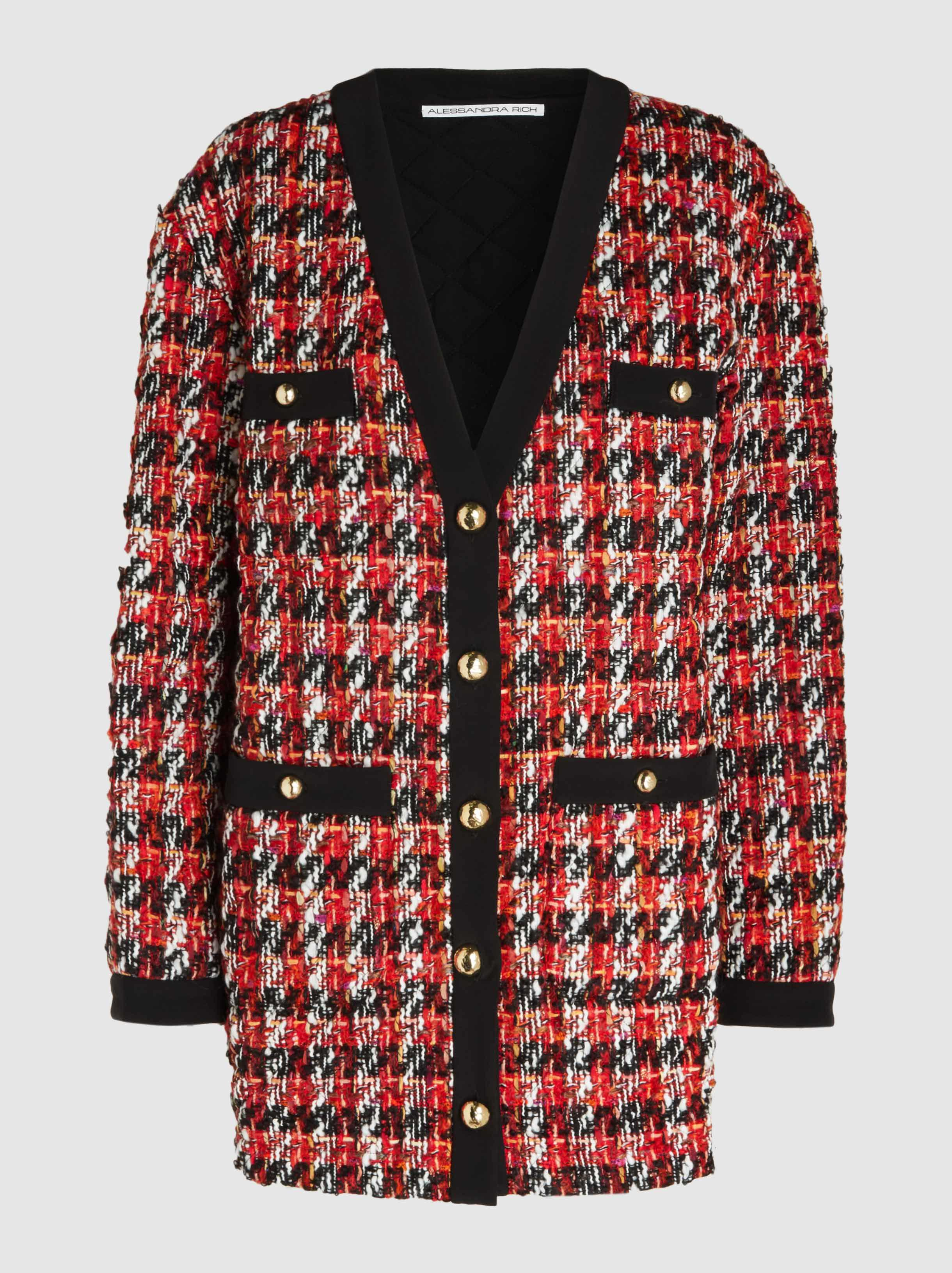abe174d0d Alessandra Rich Oversized Houndstooth Bouclé-tweed Cardigan in Red ...