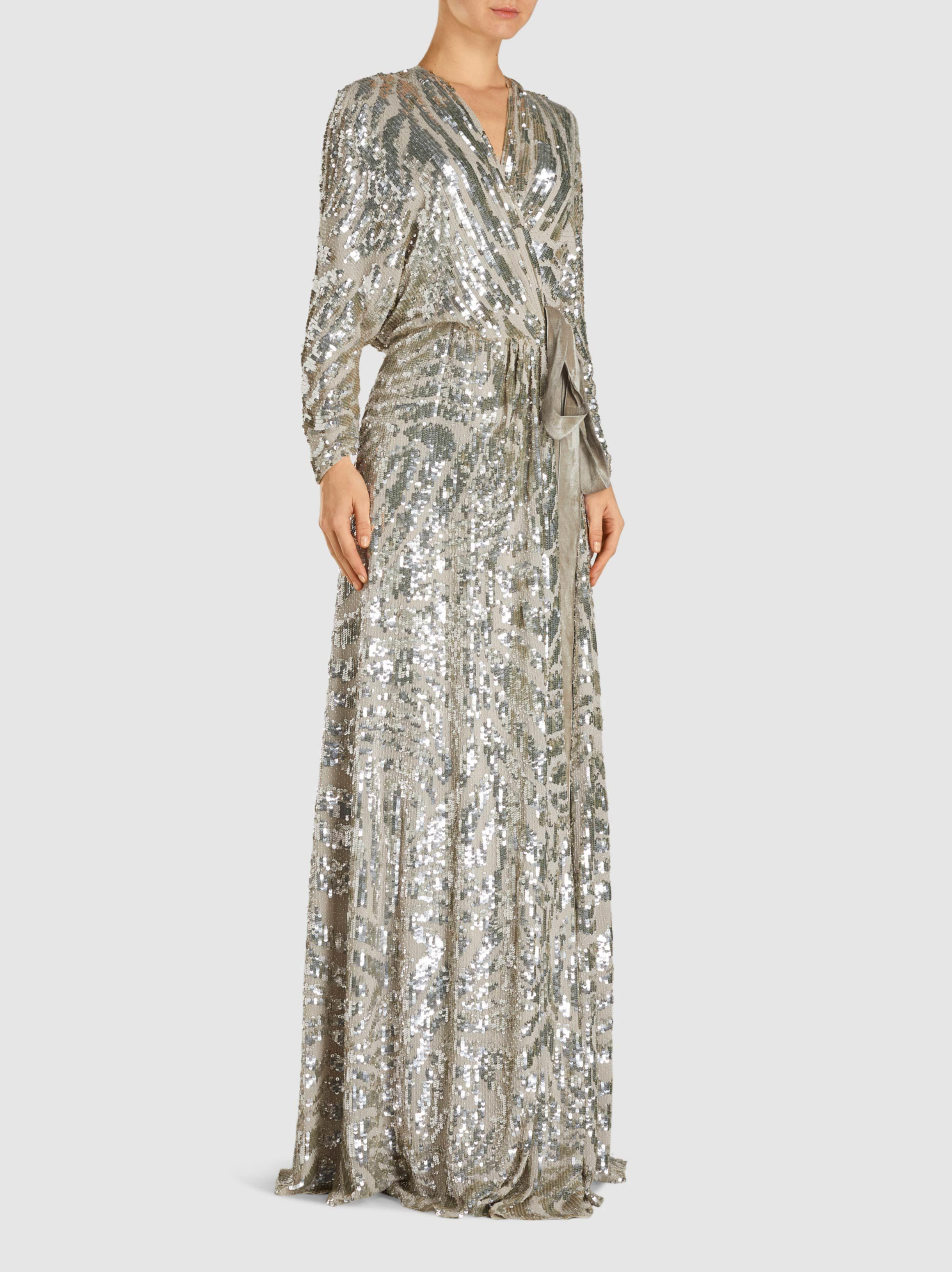ec84feca Jenny Packham Lamour Sequinned Silk-chiffon Wrap Dress in Metallic ...