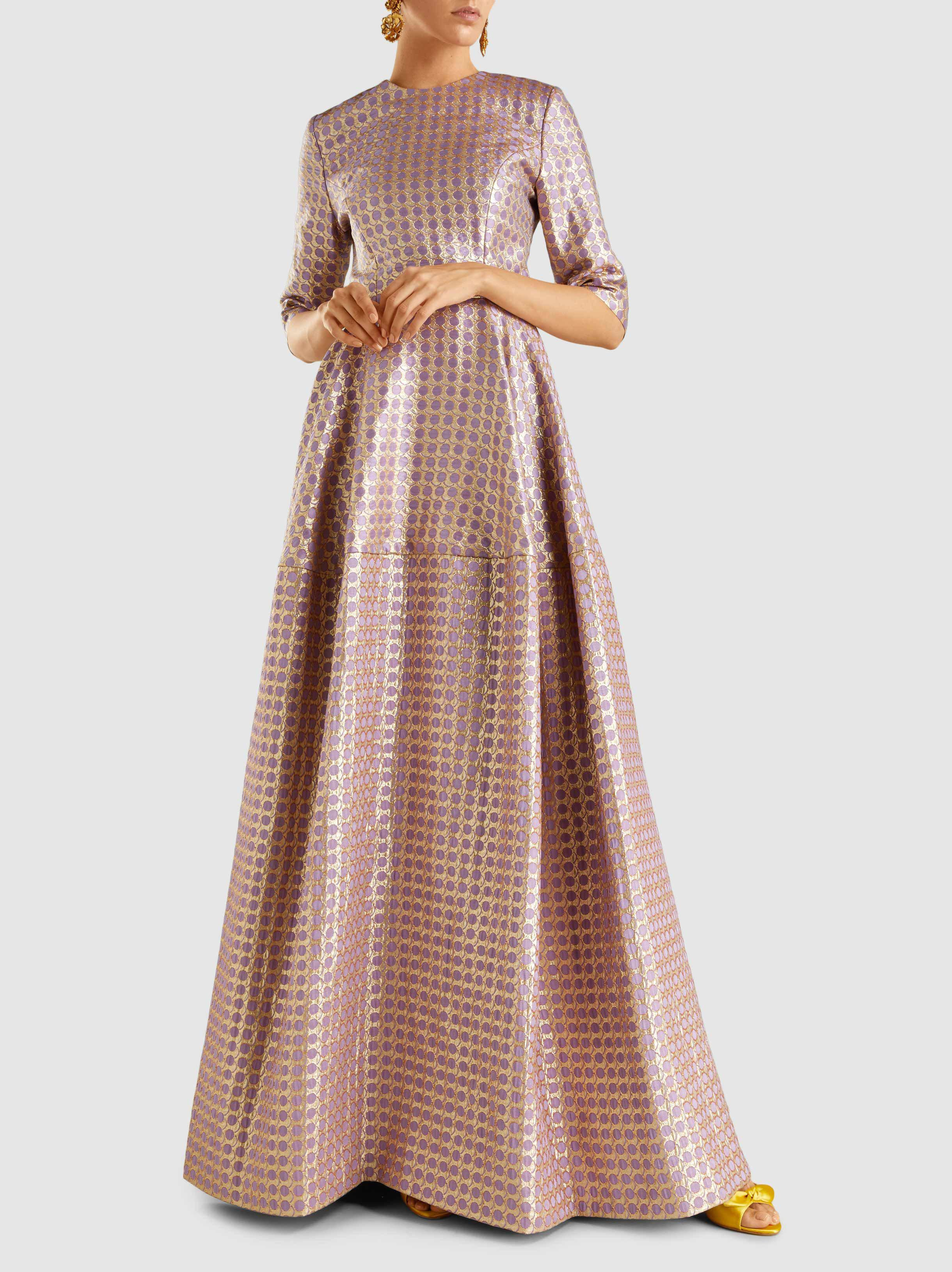 Lyst - Reem Acra Geometric-patterned Gown in Pink