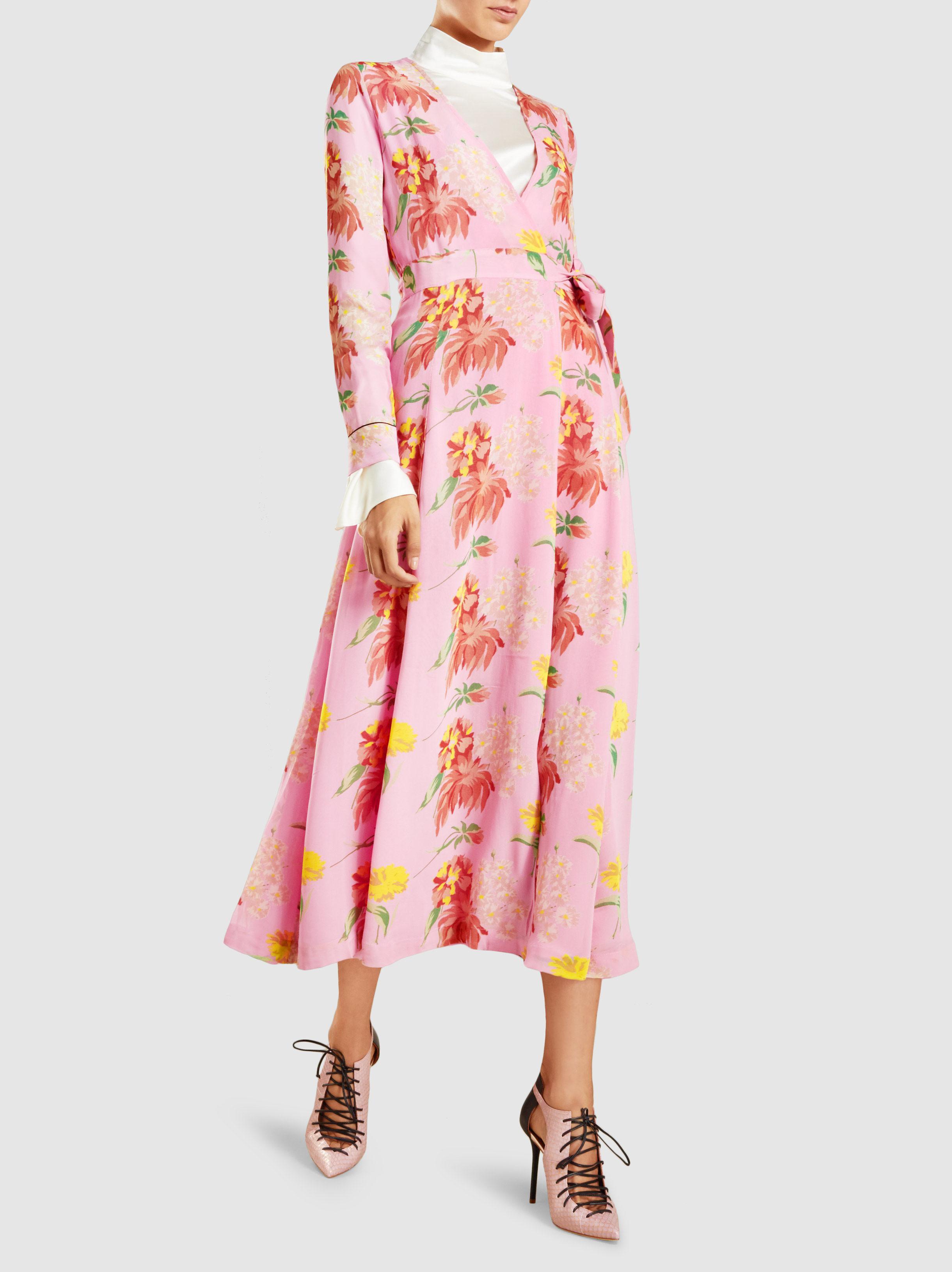 2523d125120e4 Lyst - Ganni Marceau Floral-print Georgette Maxi Dress in Pink