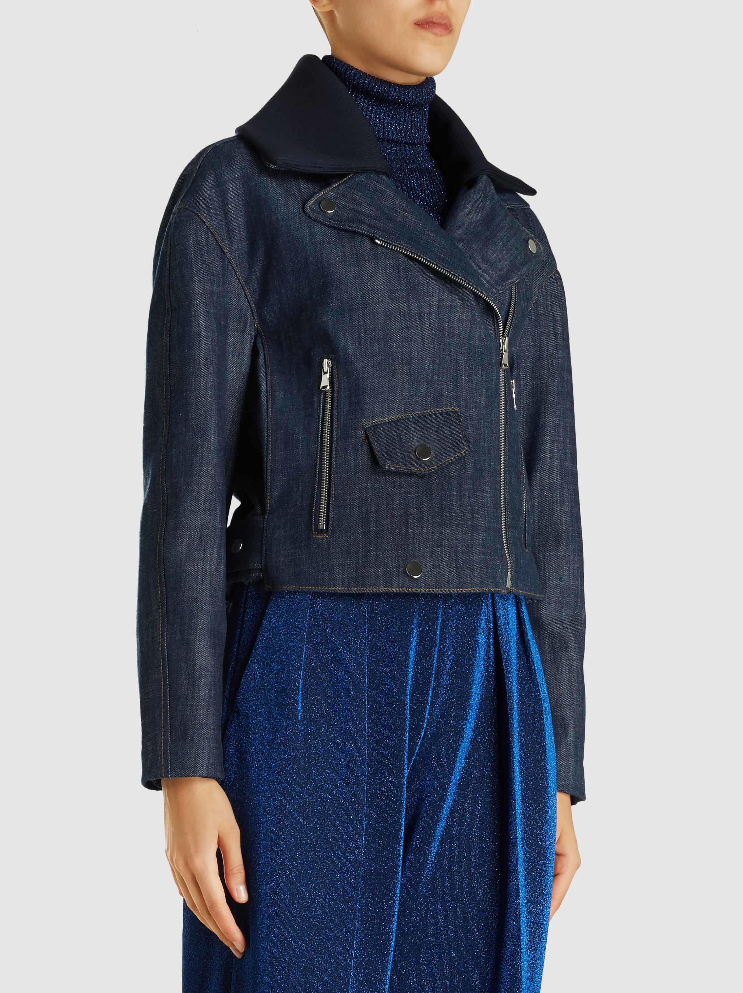 f7cdc272e0 Lyst - Tibi Cropped Denim Moto Jacket in Blue