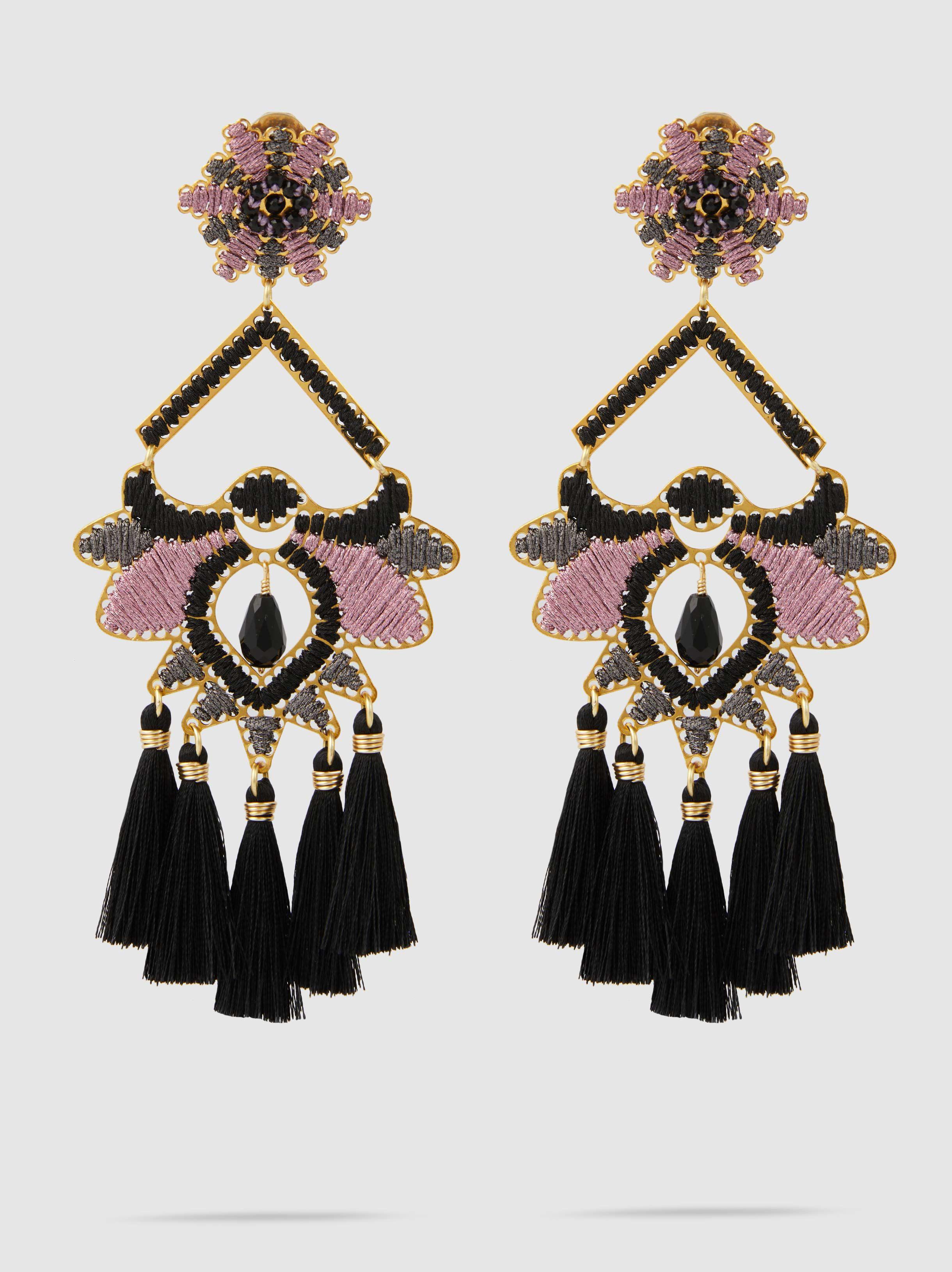 Mercedes Salazar Kashi Ceniza Tasseled Raffia Earrings vhSzMFN3d