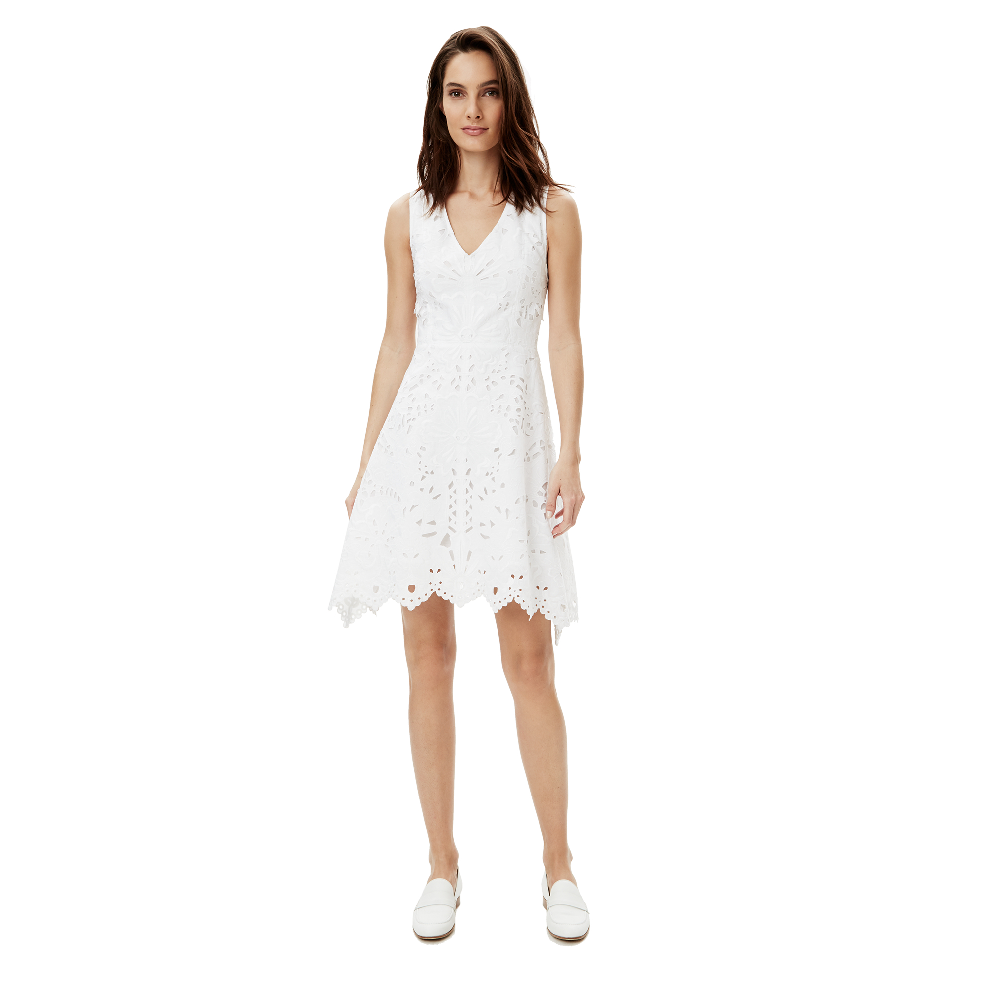 Cotton First Communion Dress Eyelet This Beautiful sleeveless embroidered eyelet cotton first communion dress with bow accent on waist is Fully lined. This Tea length cotton first communion dress includes a zipper closure and tie back and is quality Made in the USA.