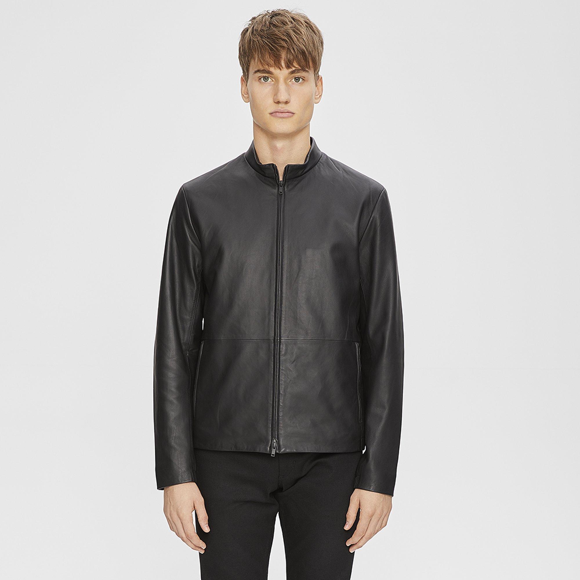 Theory leather sleeve jacket