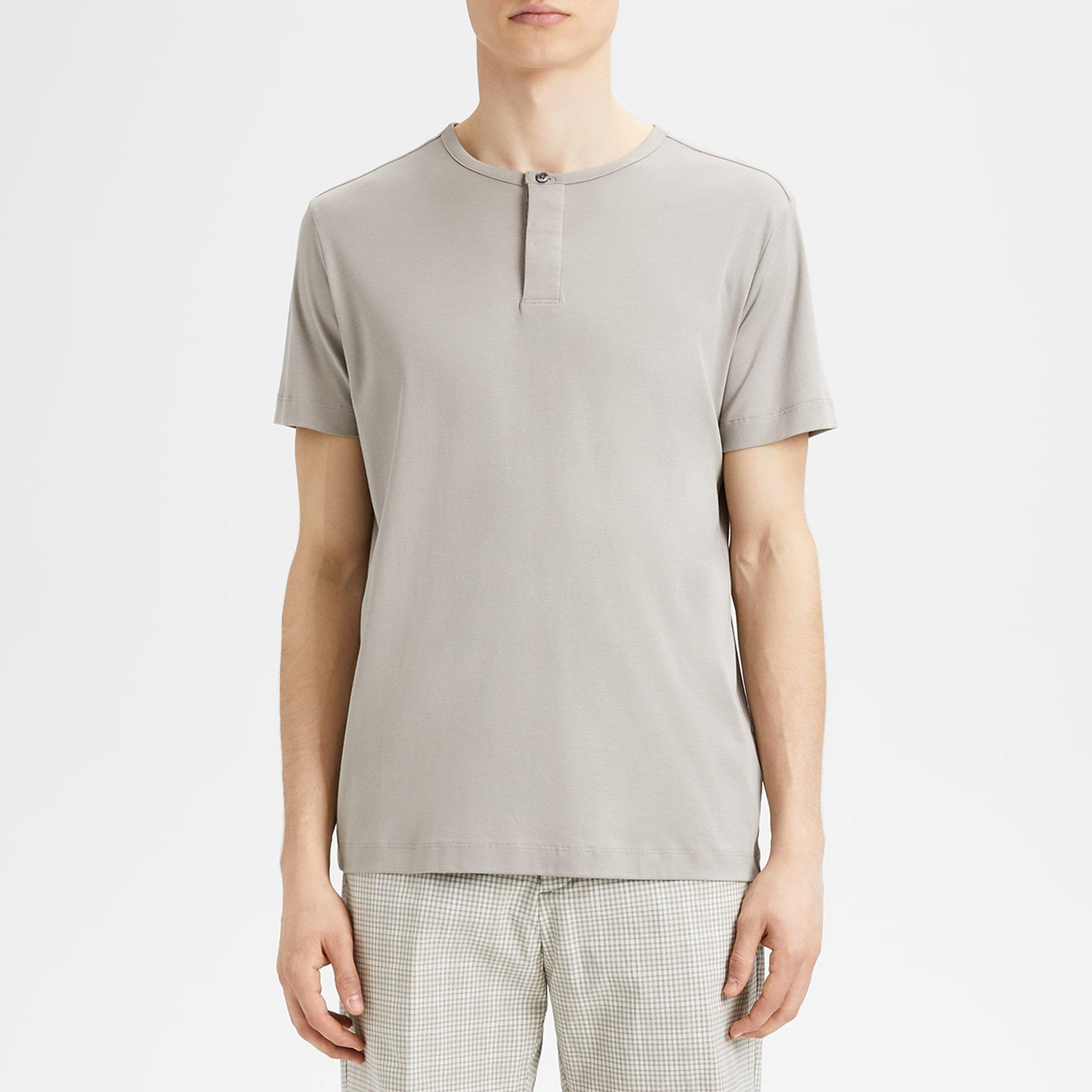1234e424 Lyst - Theory Pima Cotton Henley Short-sleeve Shirt in Gray for Men