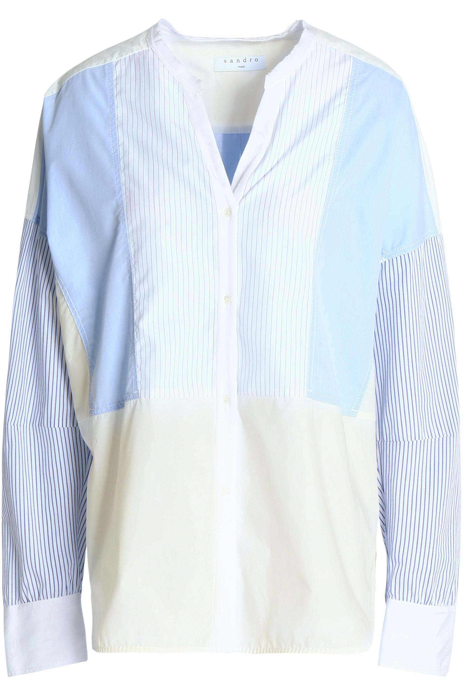 4036382fc44615 Sandro Oversized Paneled Striped Cotton-poplin Shirt Light Blue in ...