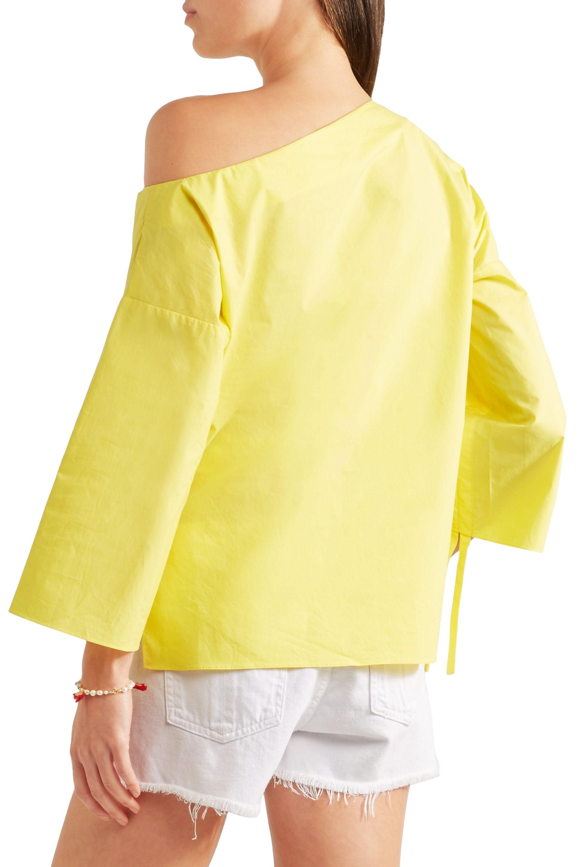 c918d988c9e Tibi Woman One-shoulder Ruched Cotton-poplin Top Yellow in Yellow - Save 7%  - Lyst