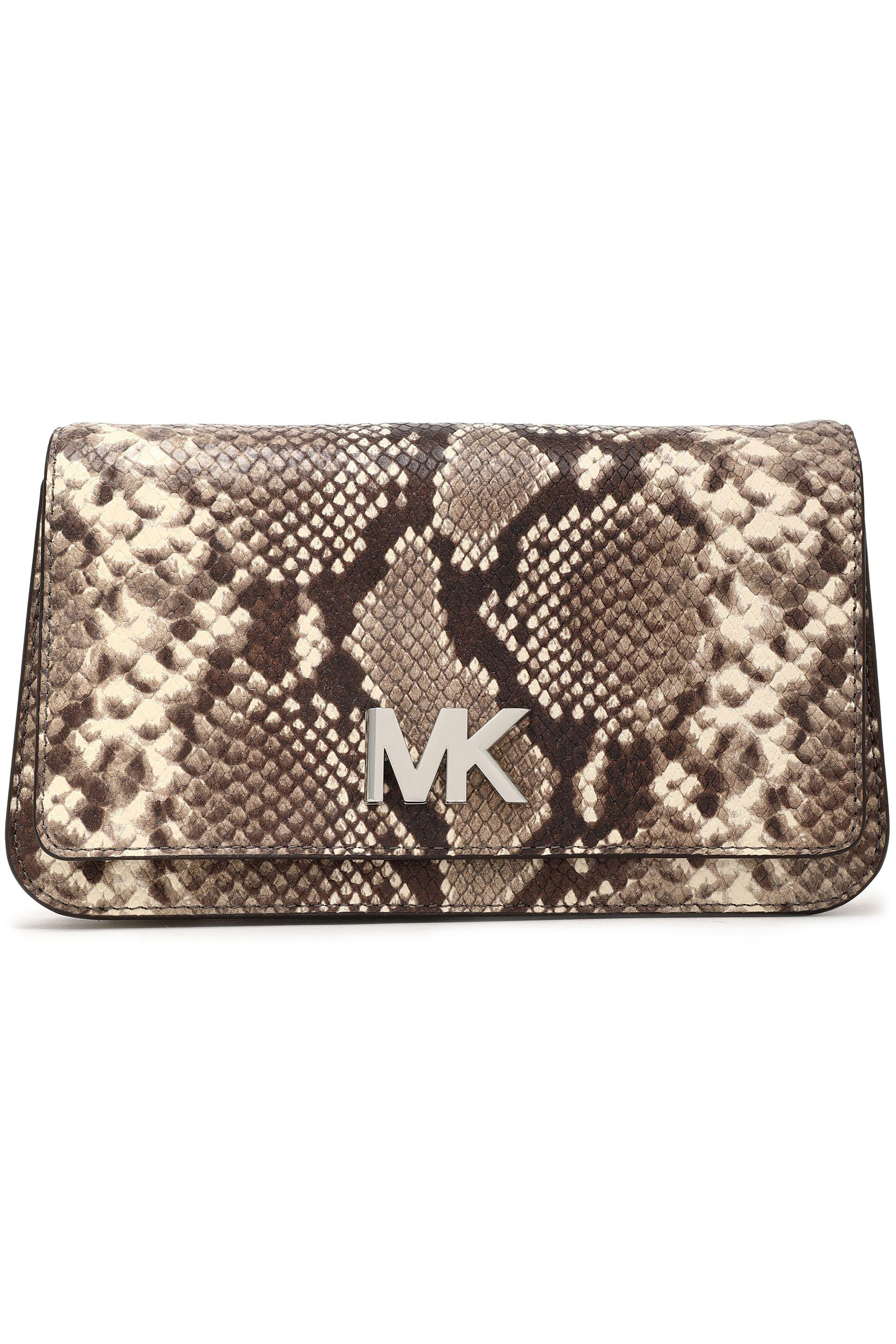 Michael Michael Kors Woman Snake-effect Leather Clutch Animal Print Size Michael Kors SngT2