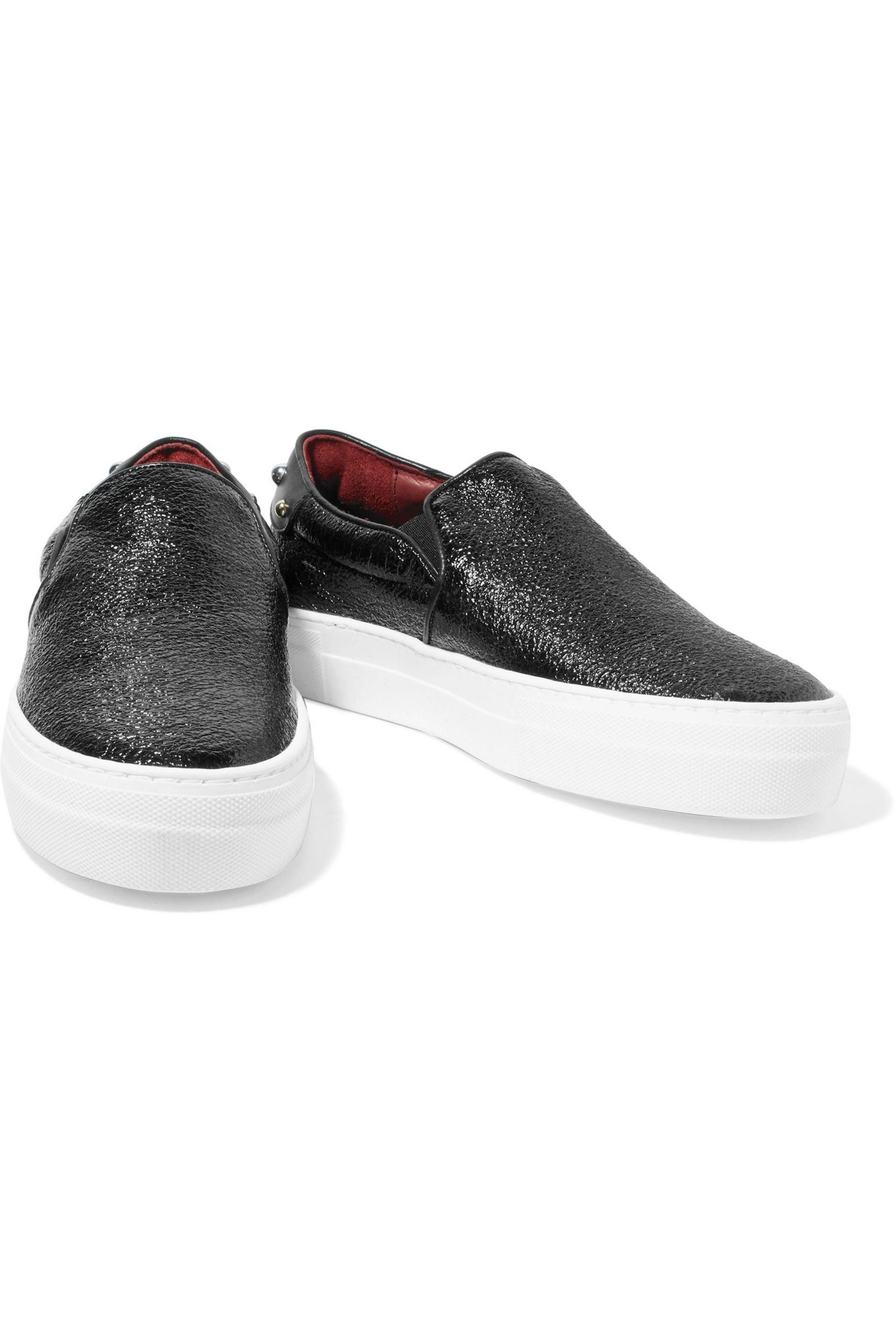 Maje Studded Cracked-leather Slip-on Sneakers in Black