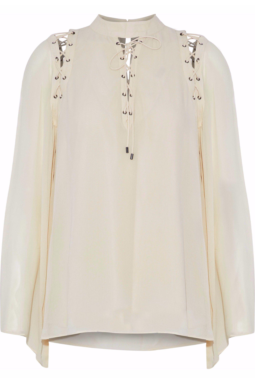 Haute Hippie Woman Georgette-paneled Lace-trimmed Silk Crepe De Chine Blouse Beige Size M Haute Hippie Cheap Sale OGUQP9wi