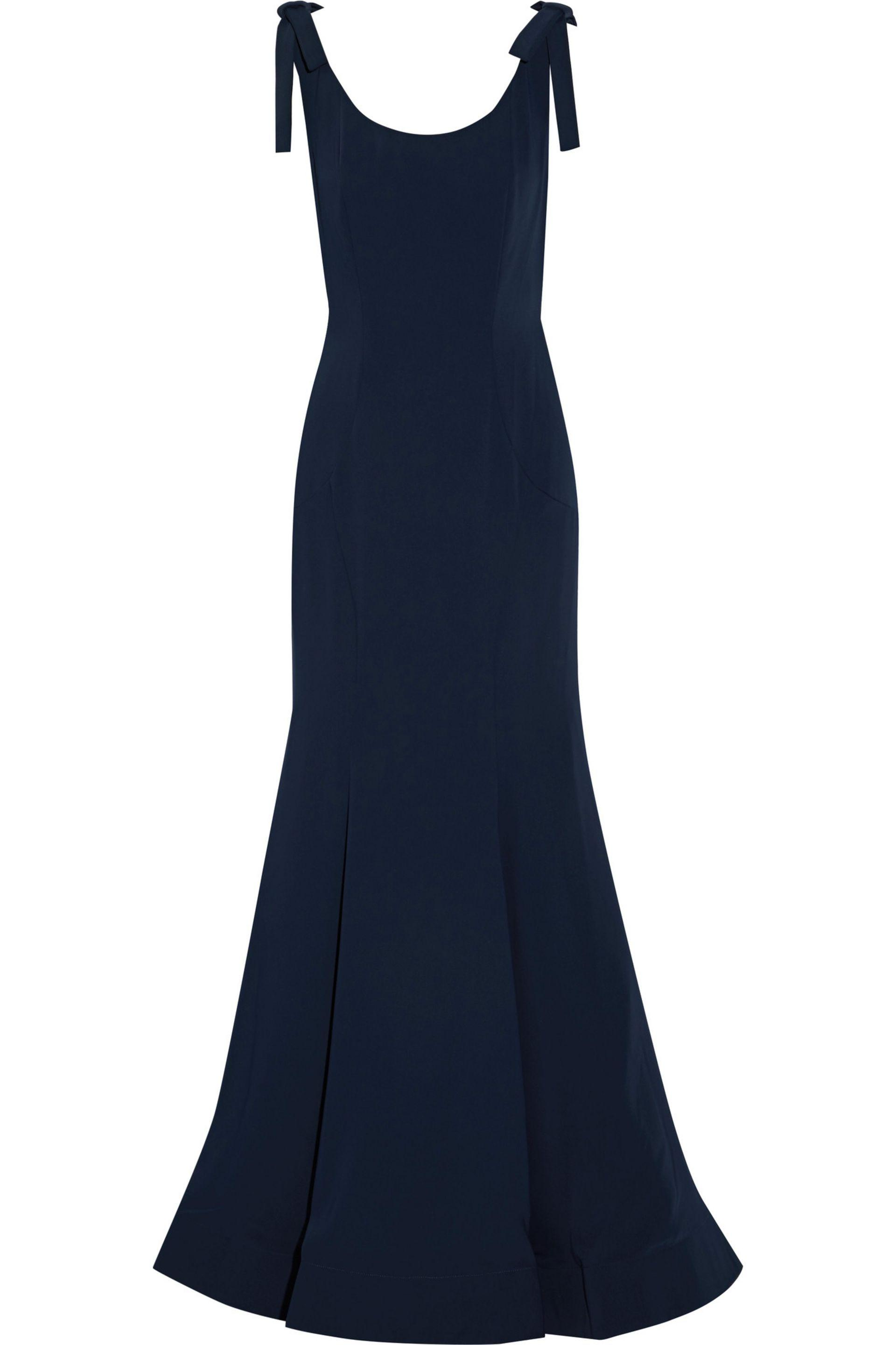 Mikael Aghal. Women's Bow-embellished Fluted Cady Gown Midnight Blue