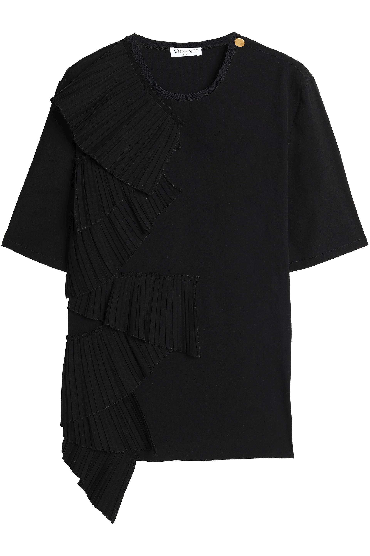 Vionnet   Black Pleated Cotton-blend Poplin Top   Lyst. View Fullscreen