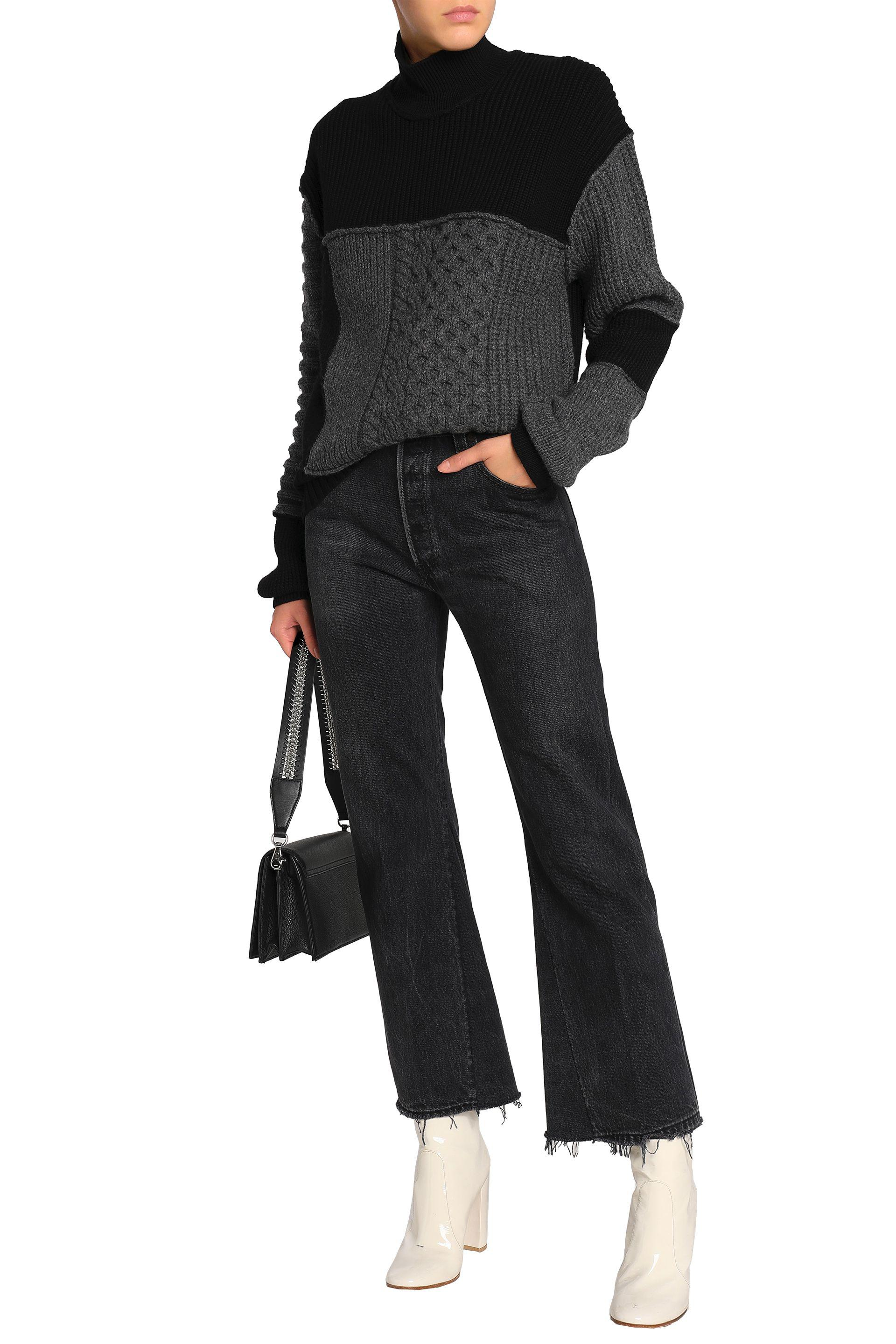 59b11a9c05f McQ Paneled Wool And Cashmere-blend Sweater in Black - Lyst