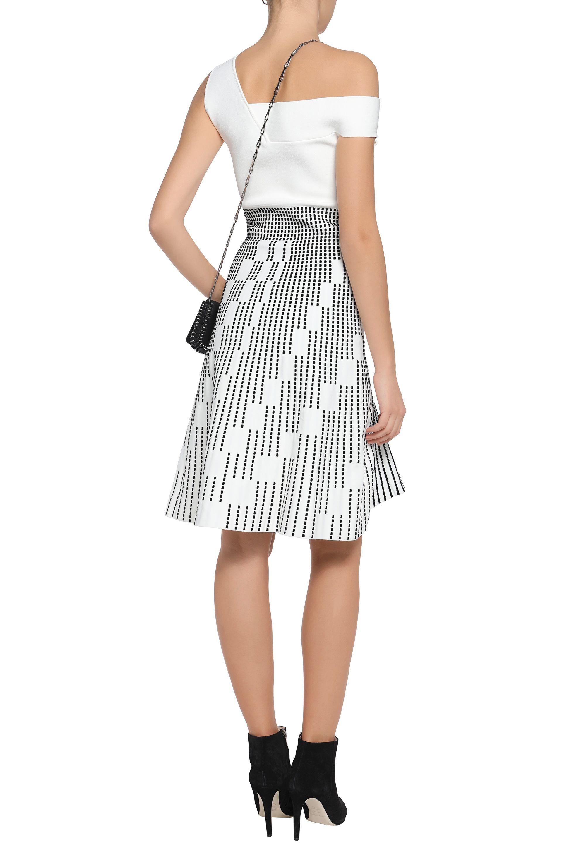 Roland Mouret Woman One-shoulder Embroidered Ponte Dress Ivory in White