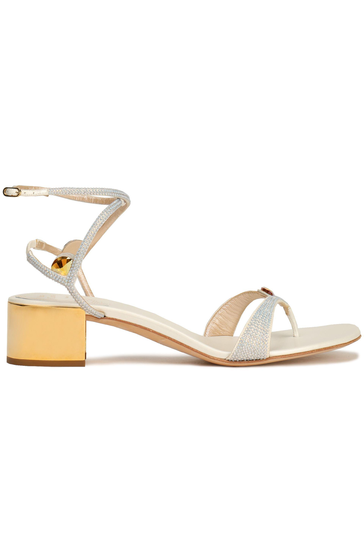 RENé CAOVILLA Woman Crystal-embellished Cutout Metallic Satin Sandals Size 35 TGOJfRBv