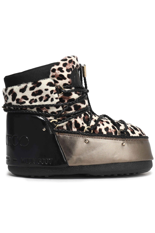 f3fbc22d56d7f Jimmy Choo Leopard-print Calf Hair Snow Boots Bronze in Black - Lyst