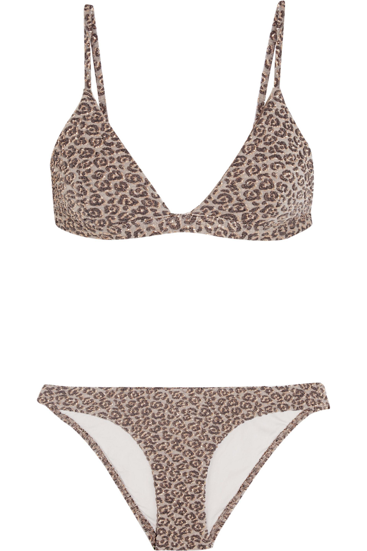 0c1328bd348 Zimmermann Gray Pavilion Metallic Leopard Cloqué Triangle Bikini