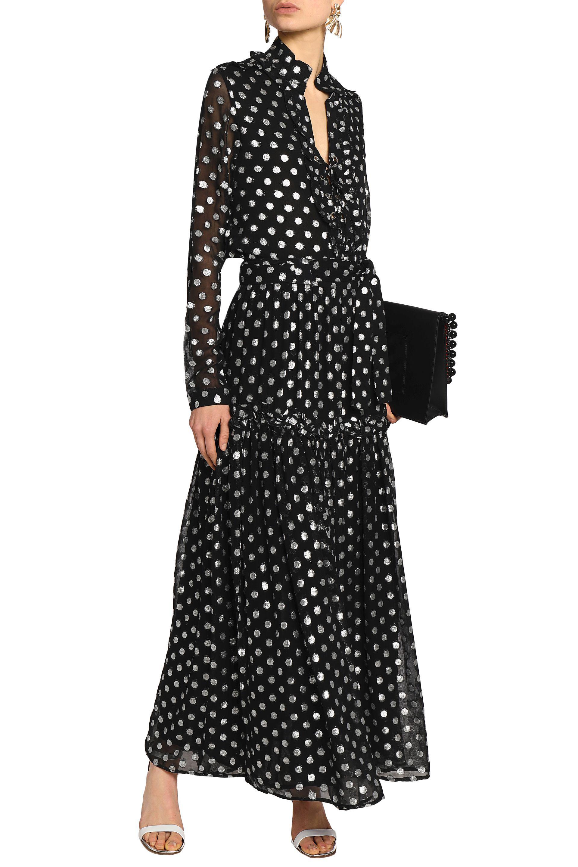Dodo Bar Or Woman Ruffled-trimmed Metallic Fil Coupé Dress Black Size 42 Dodo Bar Or QeWiUBlls