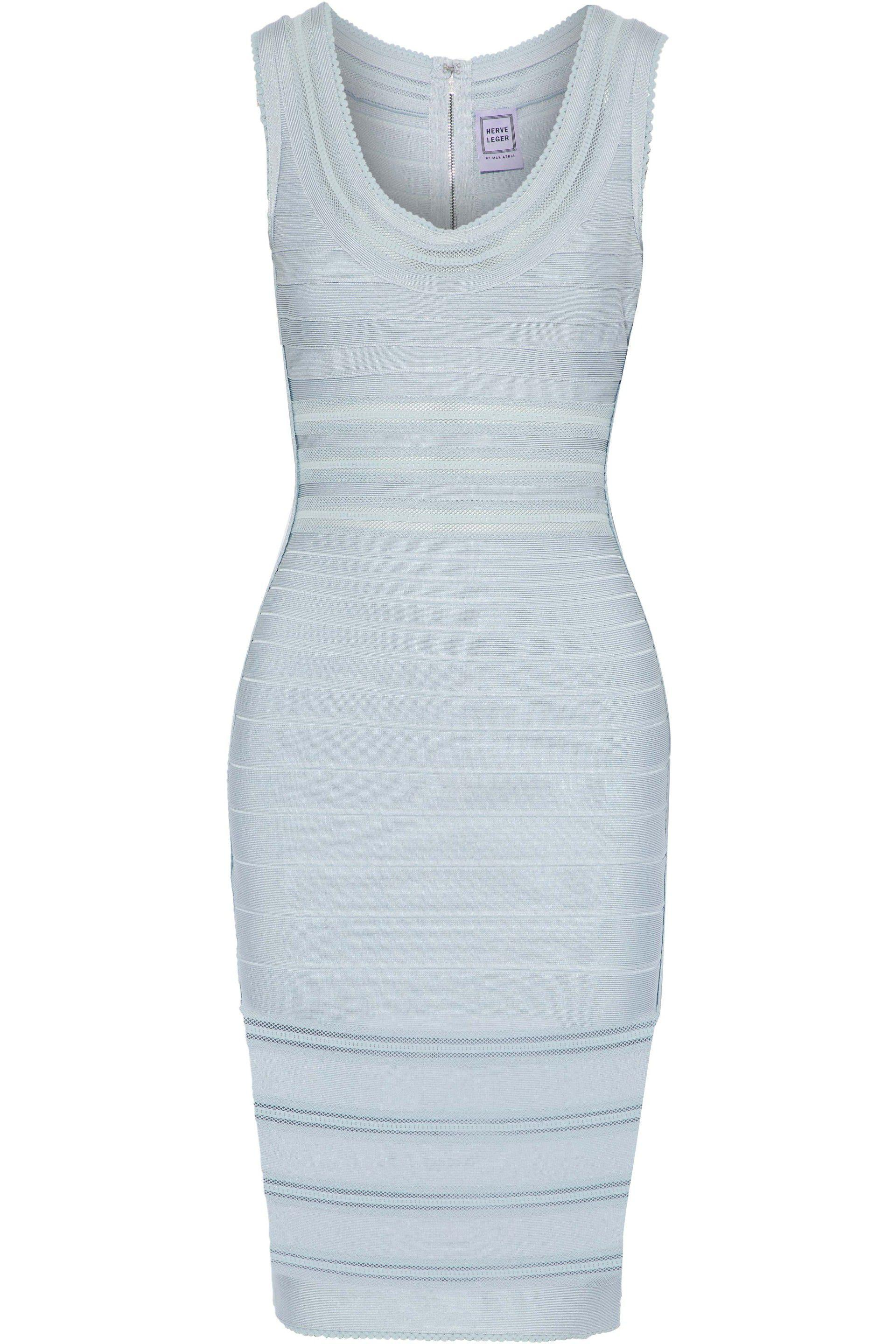 Hervé Léger Woman Off-the-shoulder Pleated Crepe De Chine-paneled Bandage Dress Sky Blue Size M Hérve Léger Sale Countdown Package Buy Cheap Ebay Pay With Paypal For Sale Outlet 2018 New 9U5HY7