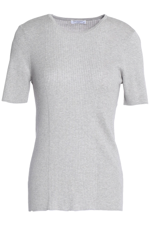 Equipment Woman Davenport Ribbed Cotton, Silk And Cashmere-blend T-shirt Light Gray Size L Equipment