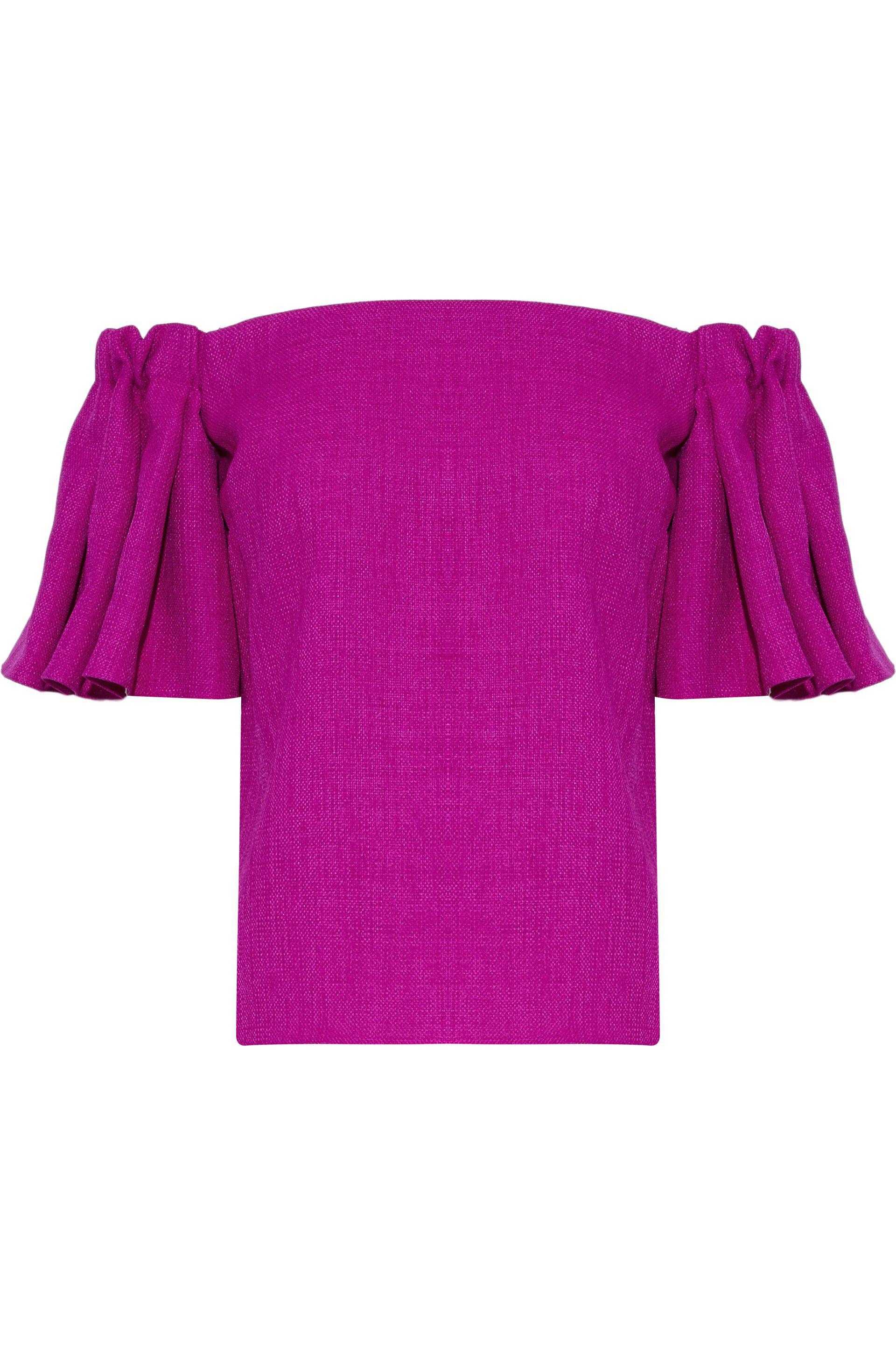 Comfortable Sale Online Free Shipping With Paypal Badgley Mischka Woman Off-the-shoulder Ruffled Woven Top Magenta Size XL Badgley Mischka Sale Official Site Free Shipping Footlocker t2RG1GlBa
