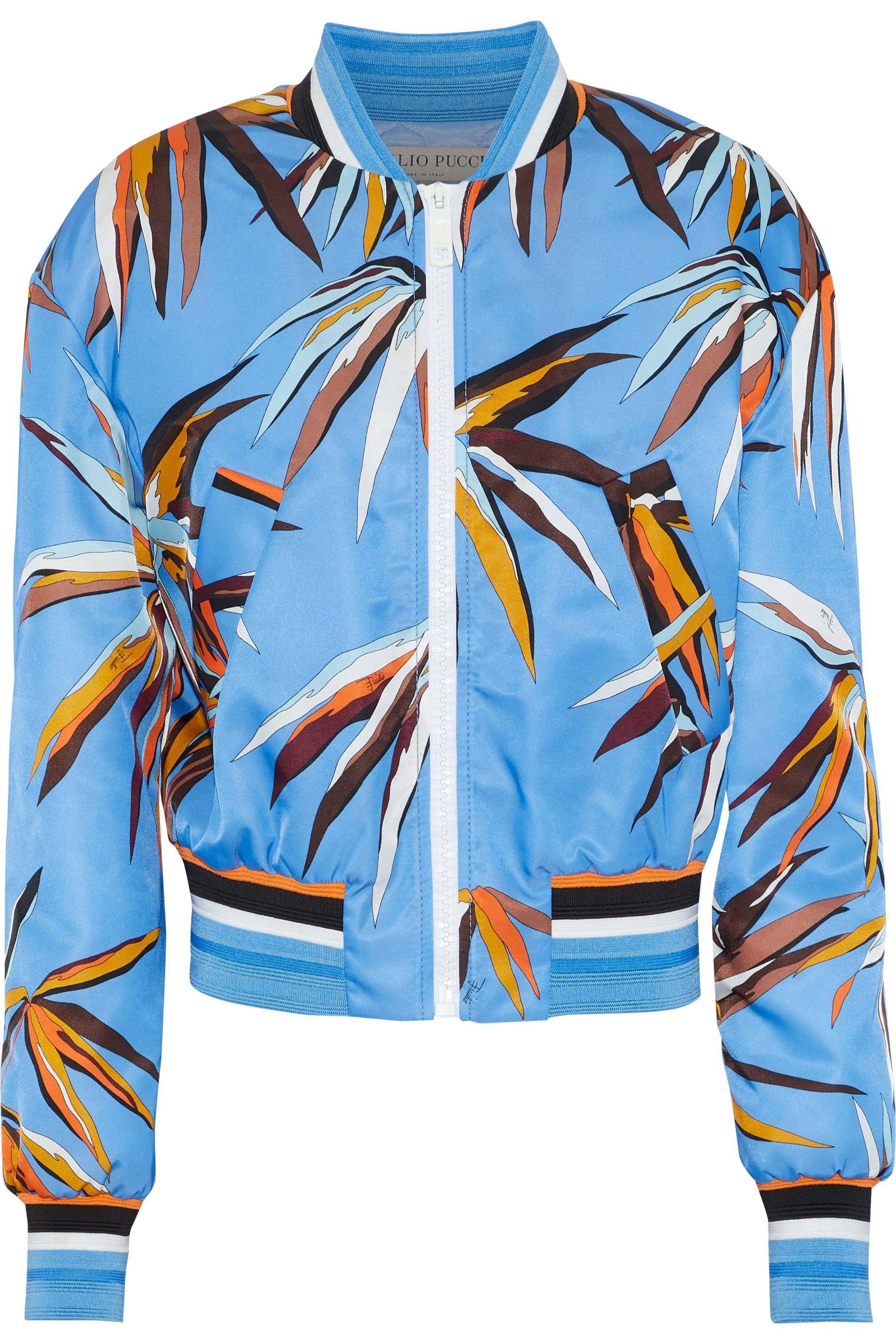 085a68f31463 Lyst - Emilio Pucci Printed Shell Bomber Jacket in Blue