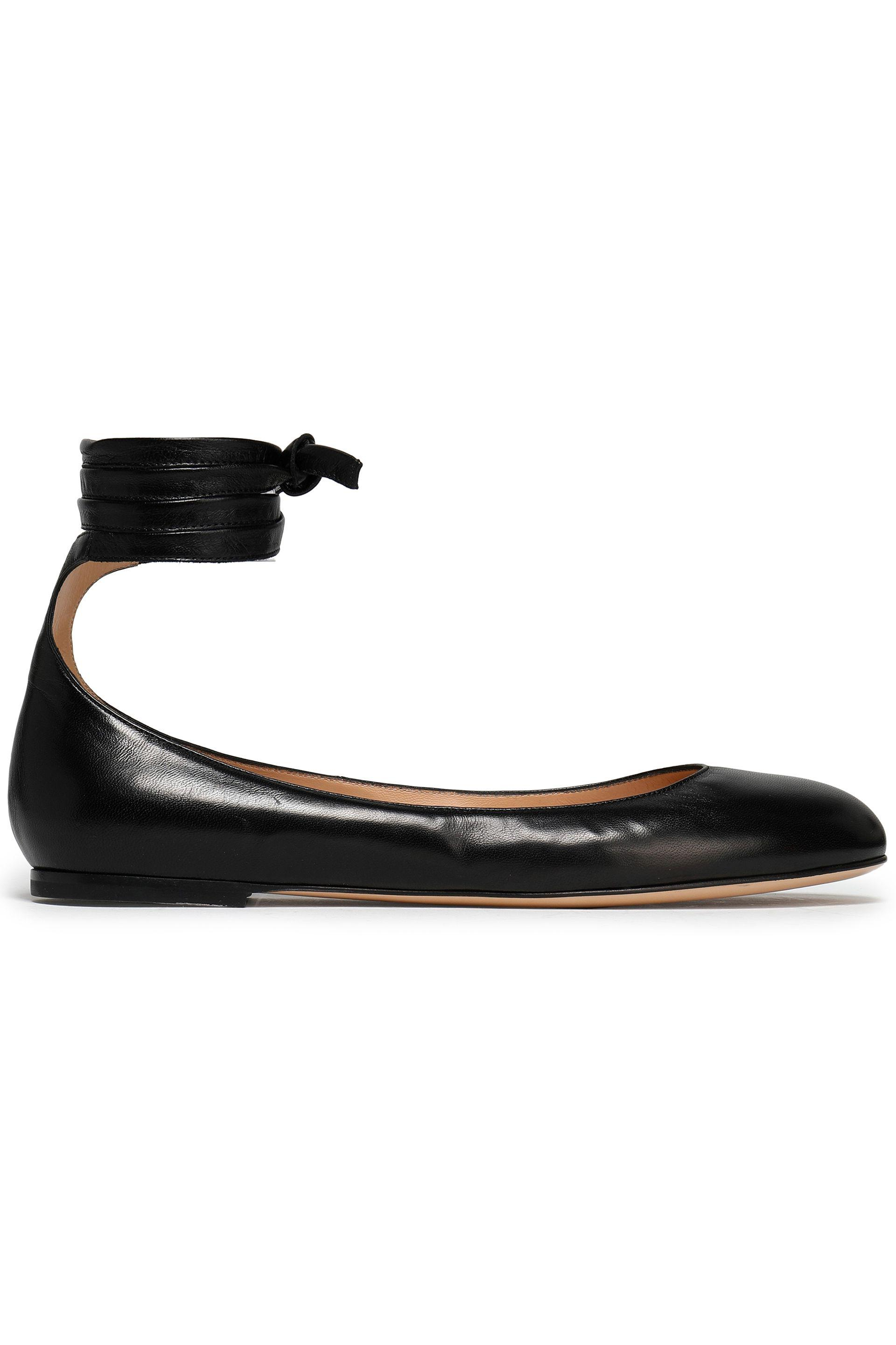 f729ab912760 Gianvito Rossi Carla Lace-up Leather Ballet Flats in Black - Lyst