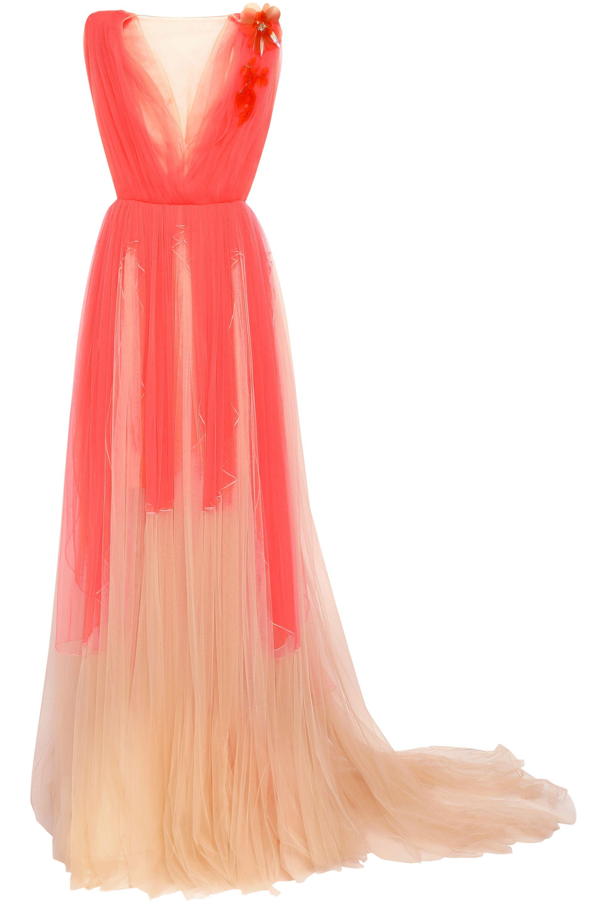 84fdf560a8a Lyst - Delpozo Woman Embellished Two-tone Tulle Gown Coral in Pink