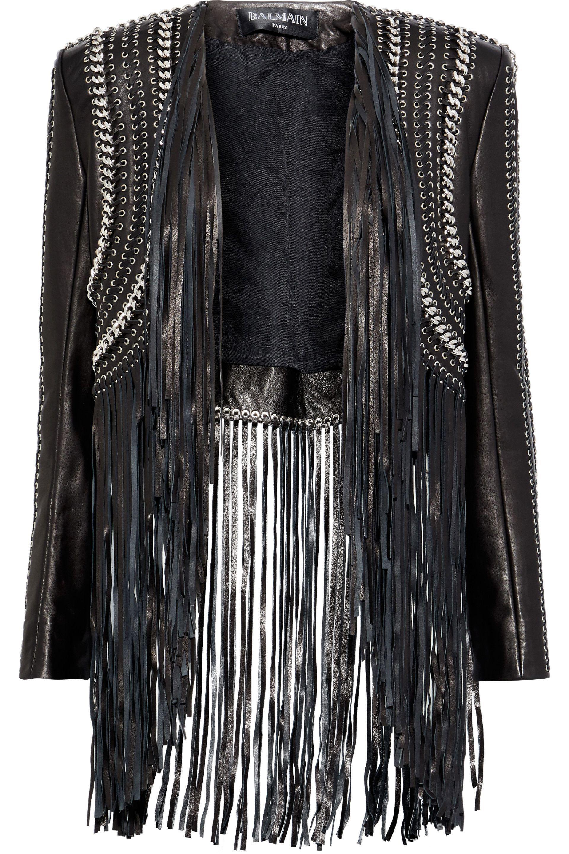 06ab3fb4f66 Balmain Woman Chain-trimmed Fringed Leather Bolero Black Size 40 in ...