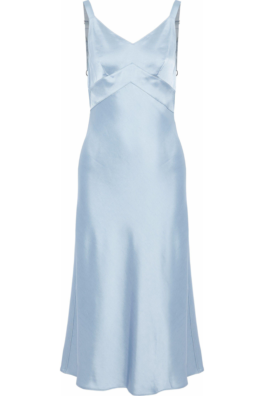 Light blue satin midi dress