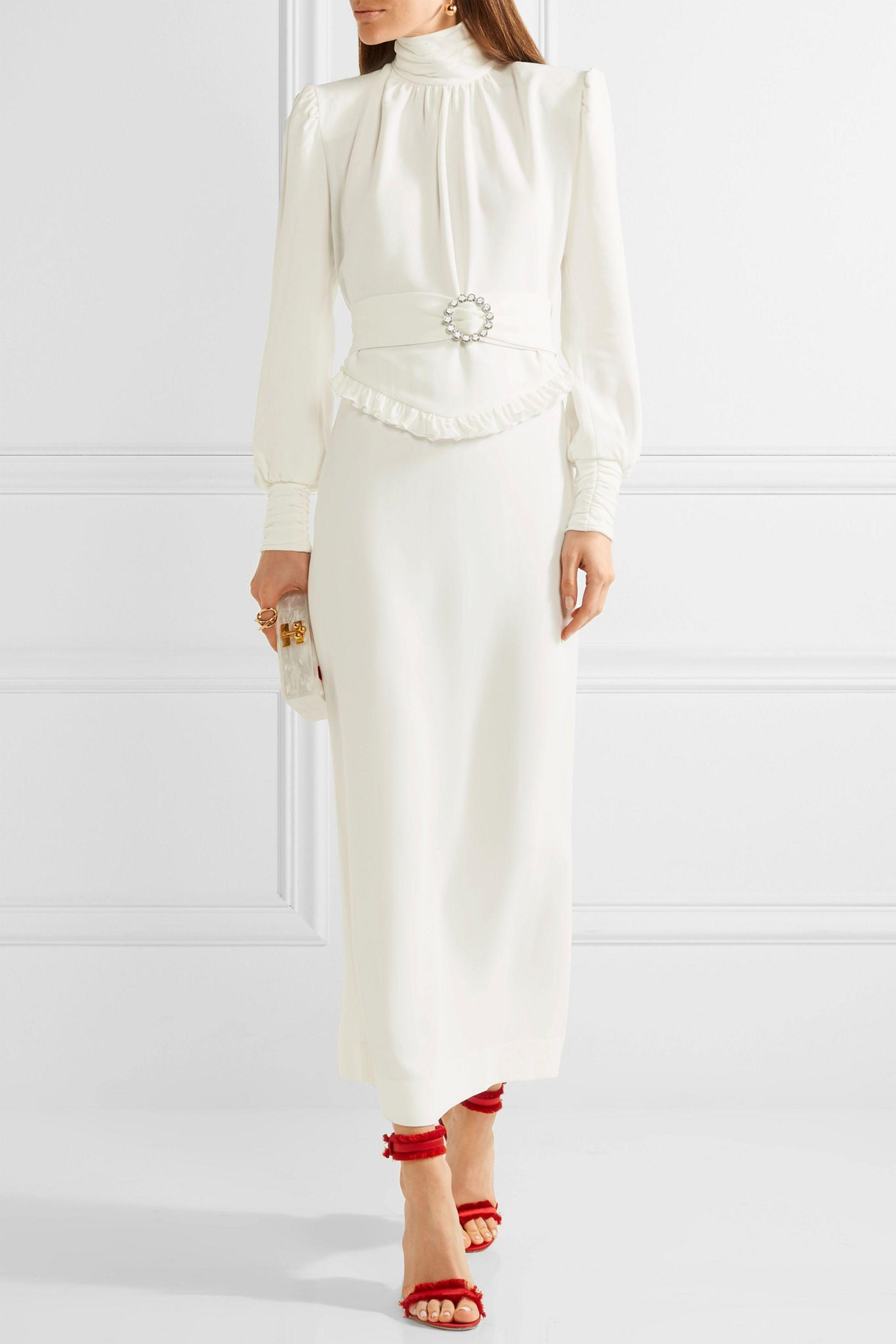 65c15a4fad1e Lyst - Alessandra Rich Ruffle-trimmed Stretch-cady Gown in White