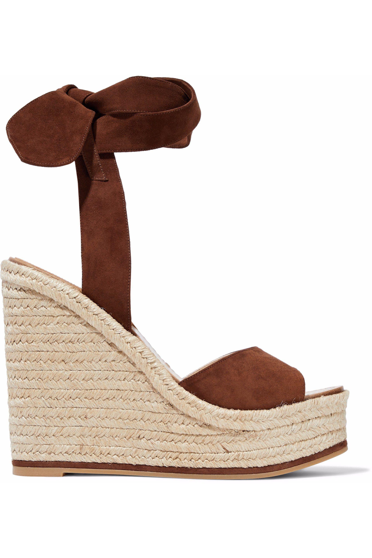 Paul Andrew. Women's Brown Lulea Espa Suede Espadrille Wedge Sandals