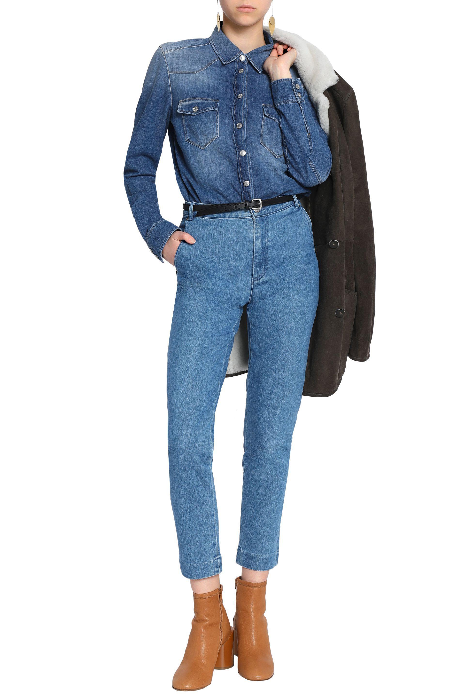 Vanessa Seward Woman High-rise Slim-leg Jeans Light Denim in Blue