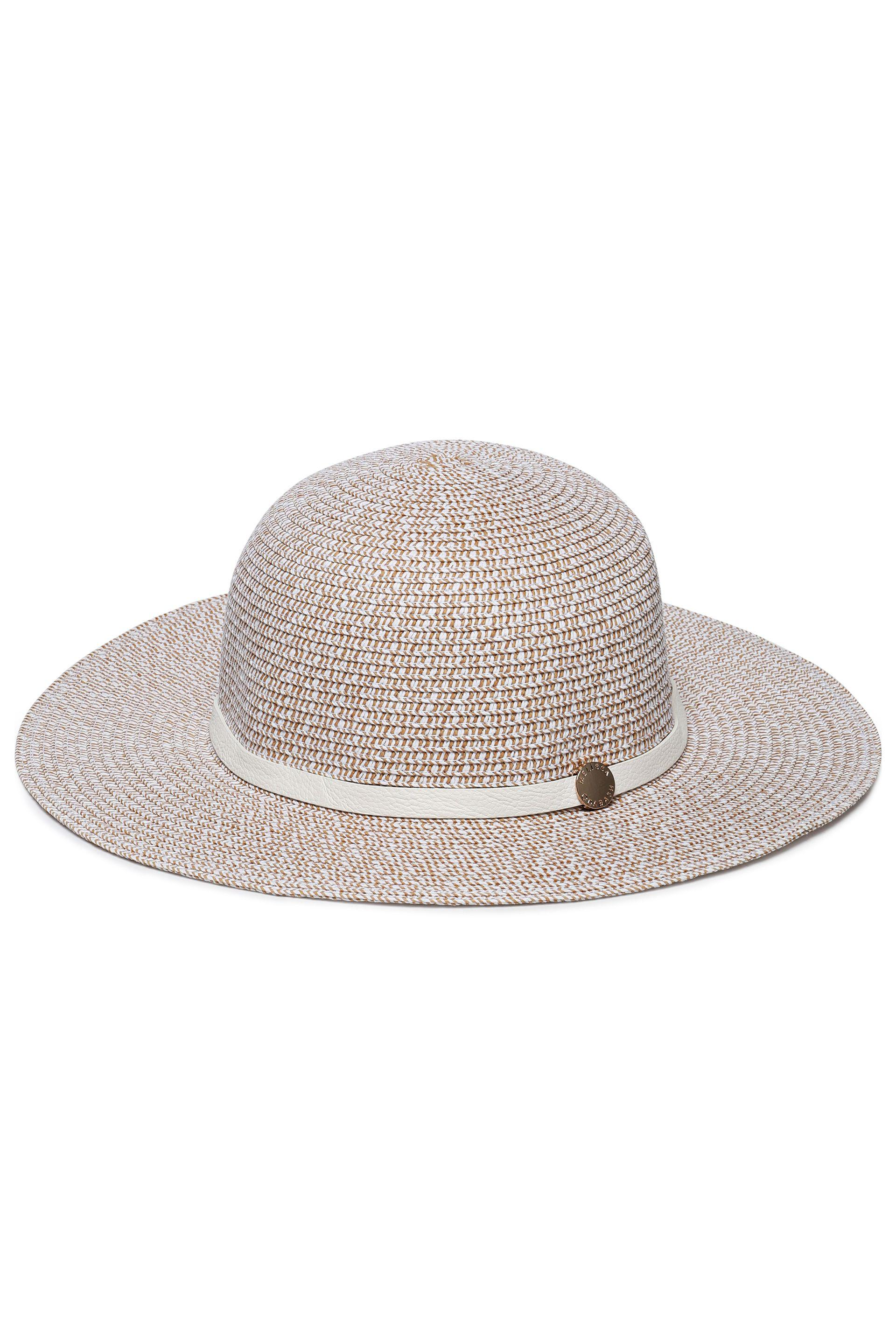Melissa Odabash Woman Colette Leather-trimmed Straw Sunhat Taupe - Lyst b6361c3f7f2
