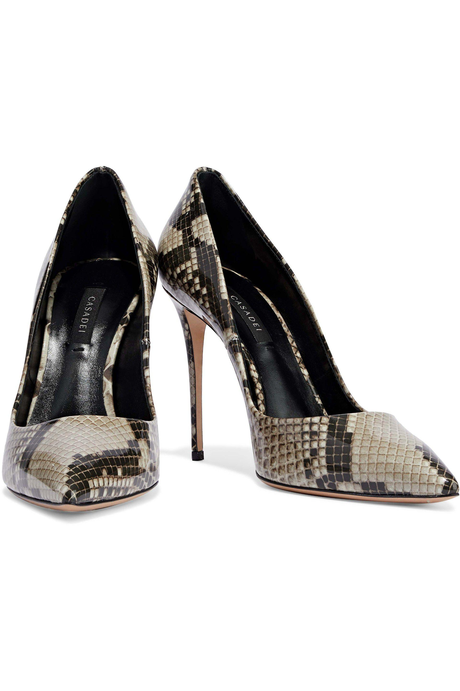 98fed9714c8e Lyst - Casadei Woman Perfect Snake-print Patent-leather Pumps Animal ...