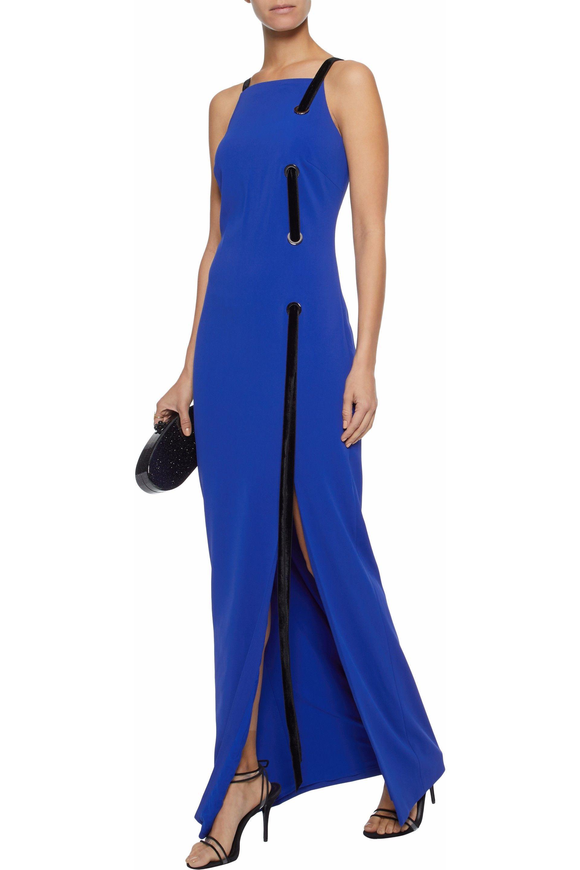 a7318a94ed53 Lyst - Badgley Mischka Eyelet-embellished Velvet-trimmed Cady Gown ...
