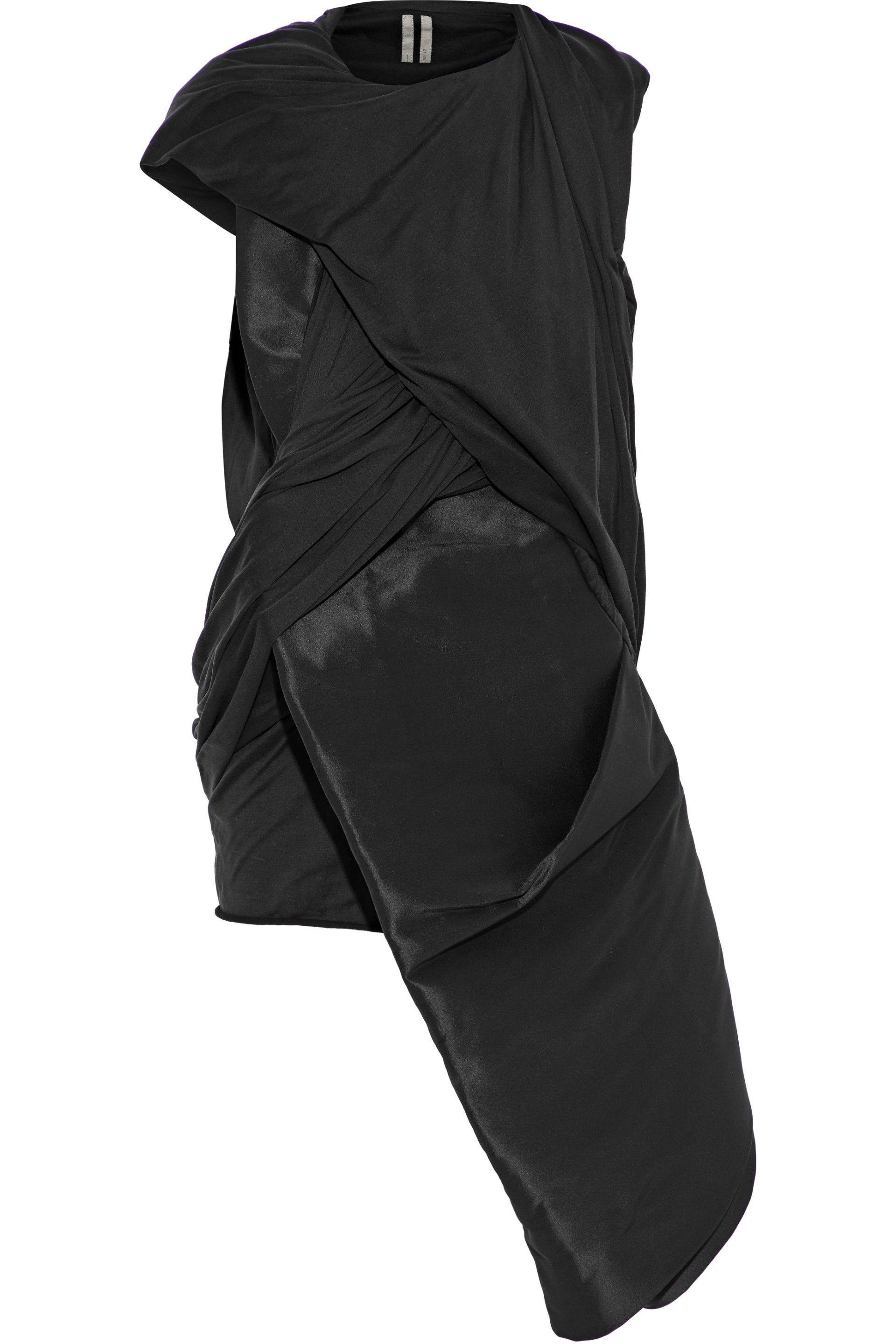 35db4a5a46e43 Rick Owens. Women s Woman Stomper Asymmetric Satin-paneled Silk-jersey Top  Black