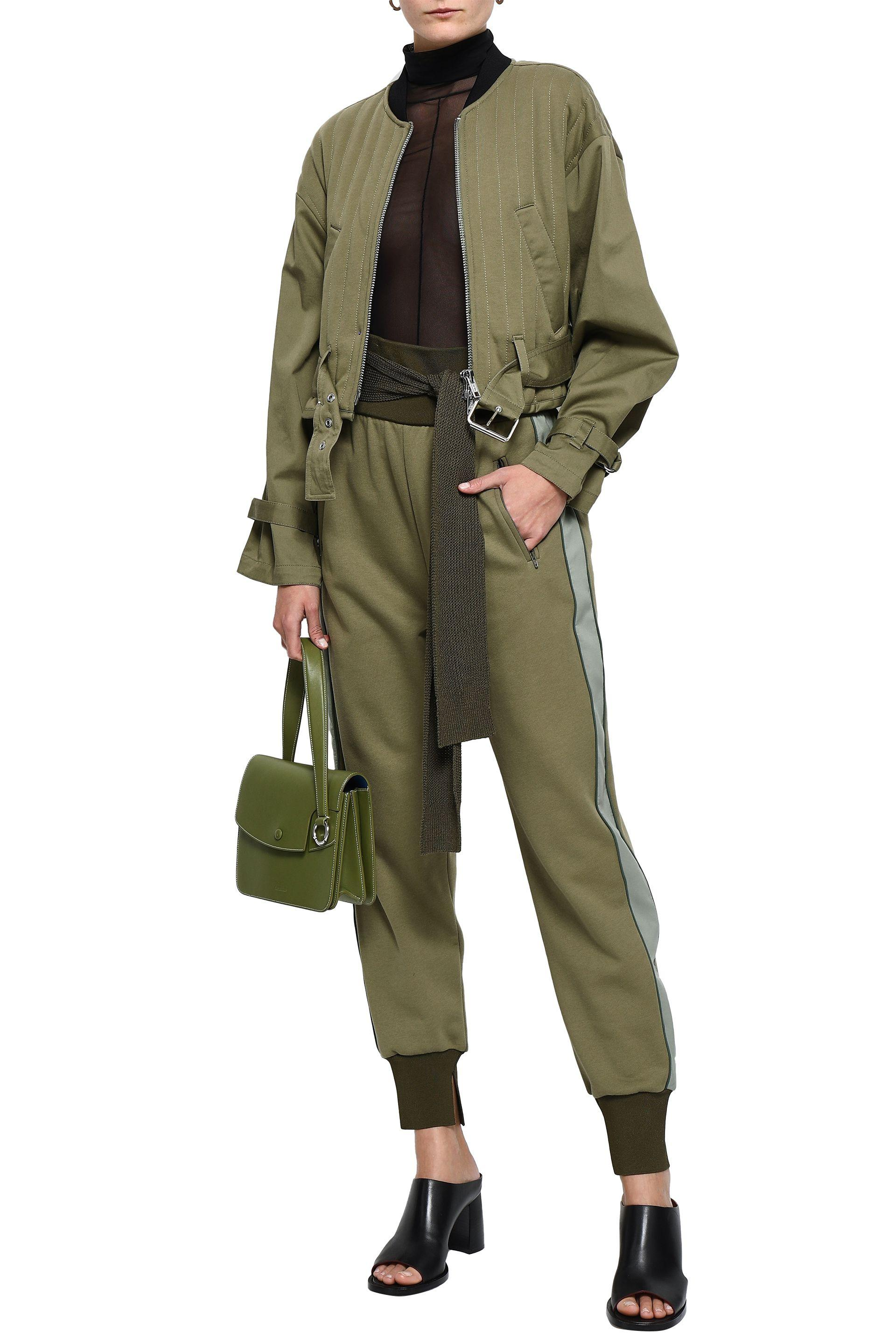 12c6041f0 3.1 Phillip Lim Cropped Quilted Cotton-gabardine Bomber Jacket Army Green