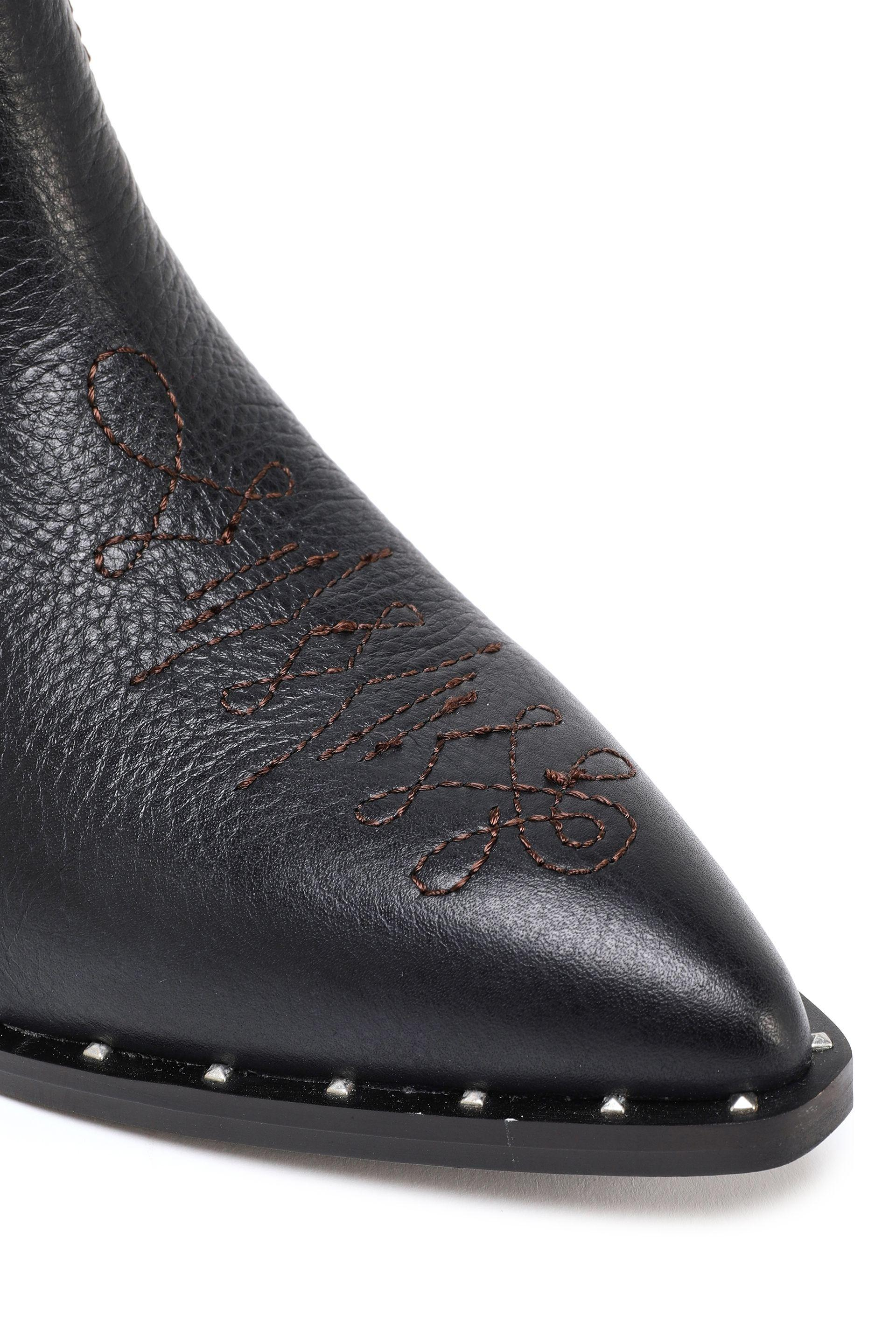 b4e40d334dc7 Sam Edelman - Woman Embroidered Textured-leather Ankle Boots Black - Lyst.  View fullscreen