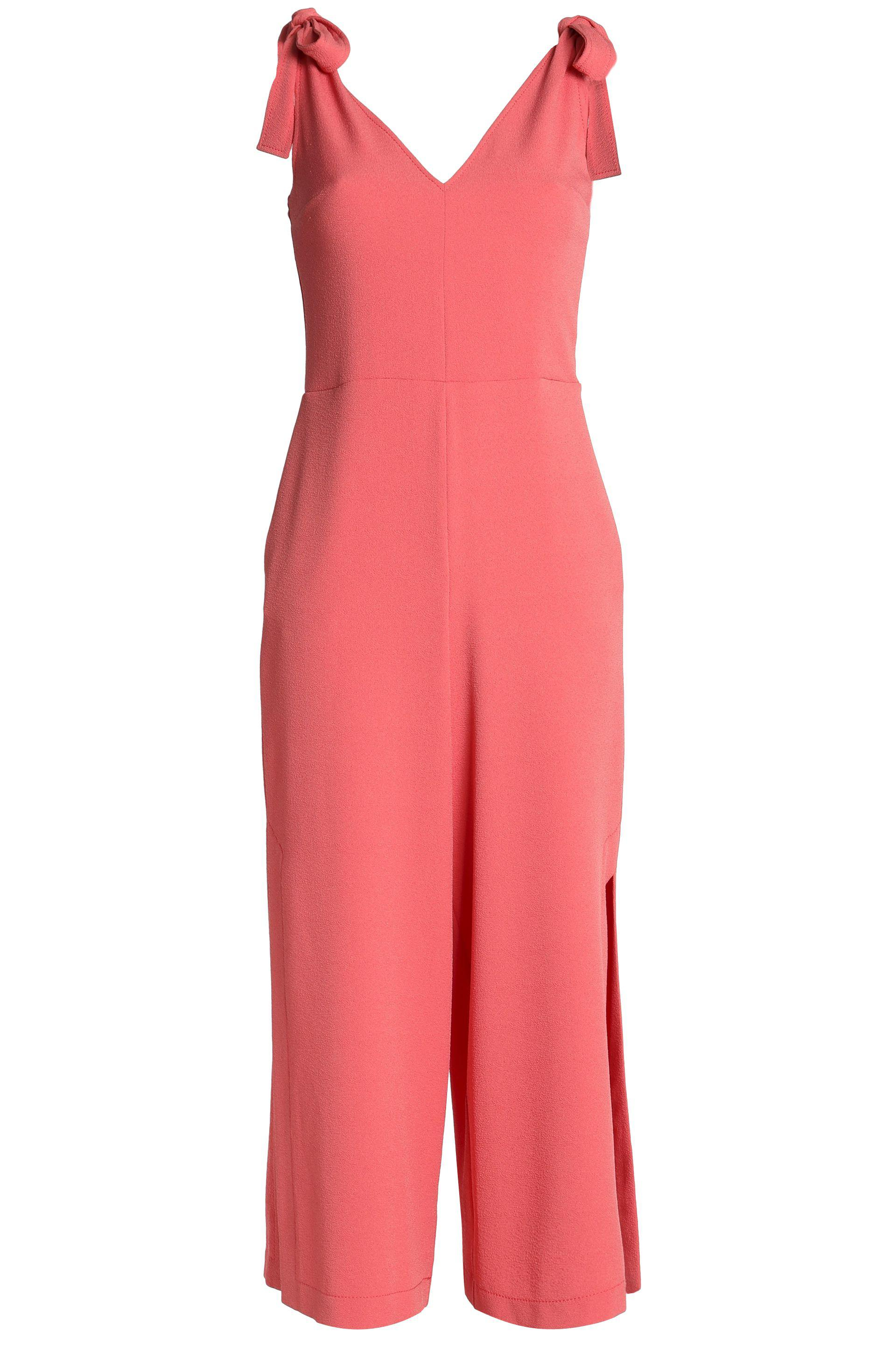 71db90bff963 See By Chloé Cropped Bow-detailed Crepe Jumpsuit Antique Rose in ...
