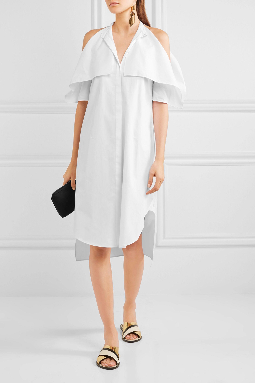 Rosetta Getty Woman Cold-shoulder Cotton-poplin Dress White Size 4 Rosetta Getty kXKtnyFkB