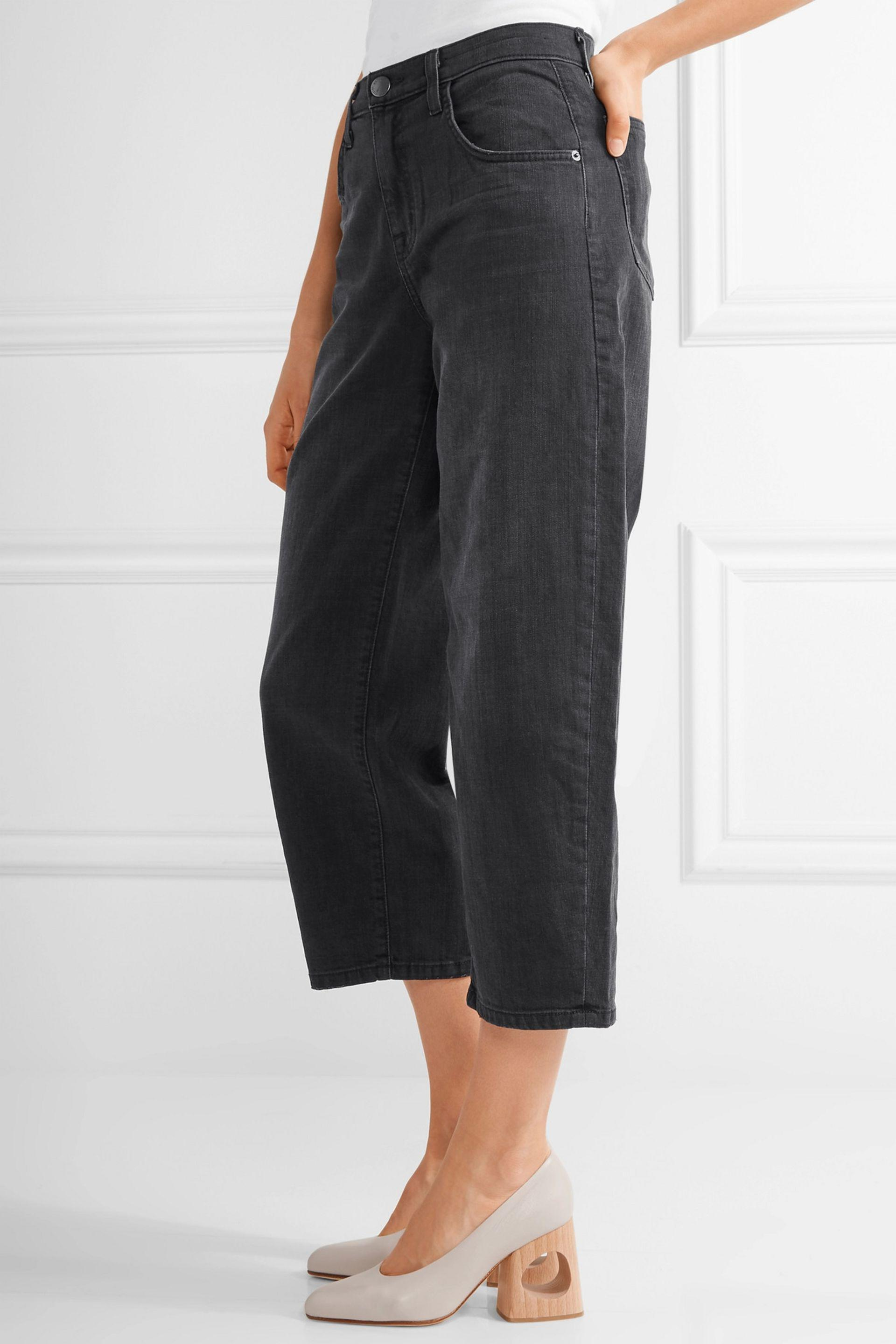 Current/Elliott Denim The Barrel Crop High-rise Wide-leg Jeans in Black