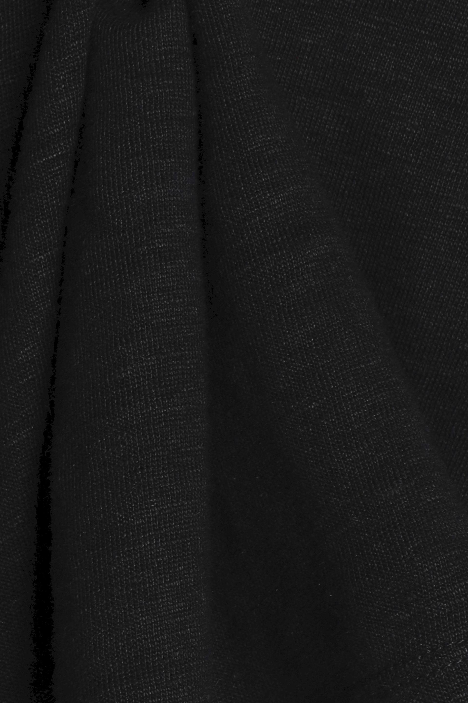 Sandro Open-knit Trimmed Linen Top in Black