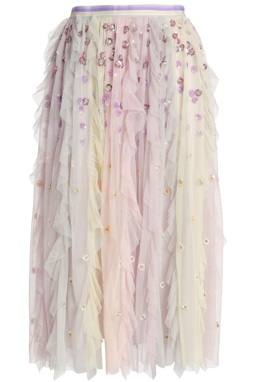 3f18be2b5 Needle & Thread. Women's Purple Woman Rainbow Embellished Ruffled Tulle  Midi Skirt Lilac