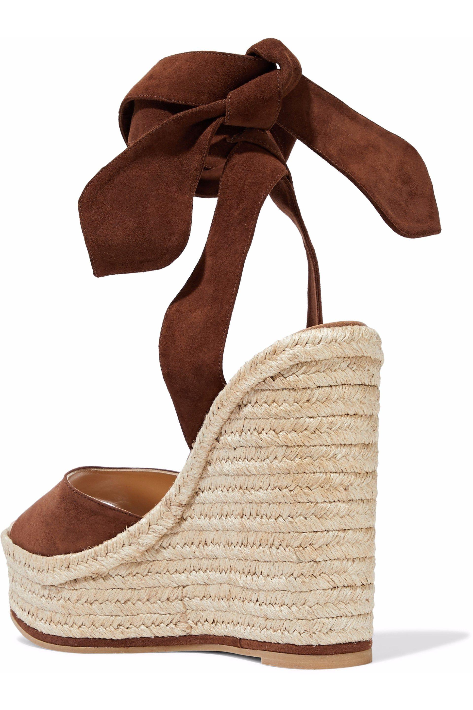 f571b1347e8 Paul Andrew Brown Woman Lulea Espa Suede Espadrille Wedge Sandals Chocolate